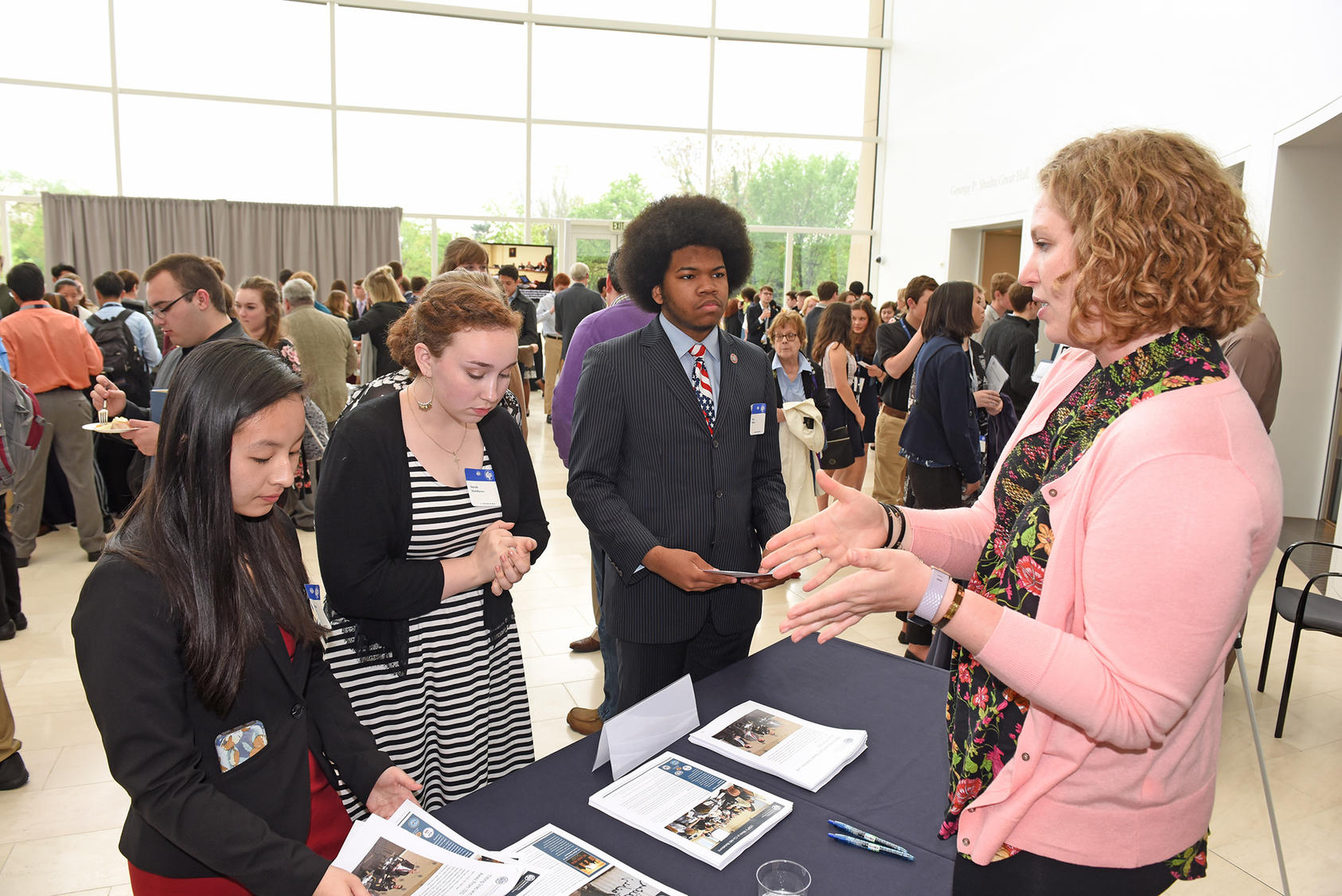 High school students from Tennessee hear about USIP's work at our headquarters, May 2018.