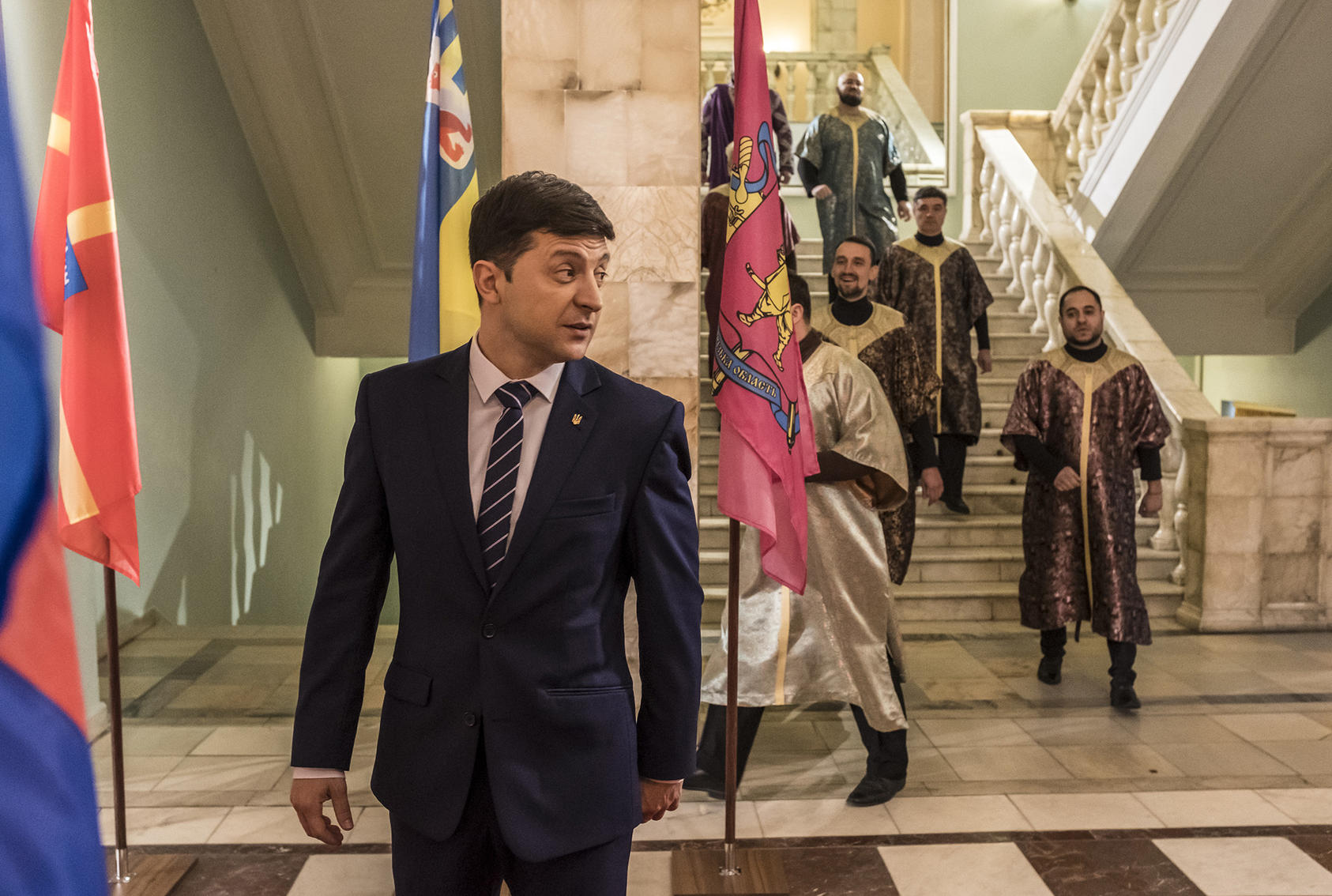 Amid the election campaign, Volodymyr Zelenskiy rehearses on the set of the TV show in which he played an accidental president. His election as Ukraine's real leader poses new questions. (Brendan Hoffman/The New York Times)