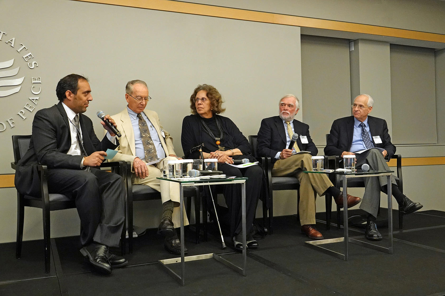 From left to right: USIP's Aly Verjee; Amb. David Shinn, Amb. Aurelia Brazil, Amb. Marc Baas, and Amb. Donald Booth at USIP.