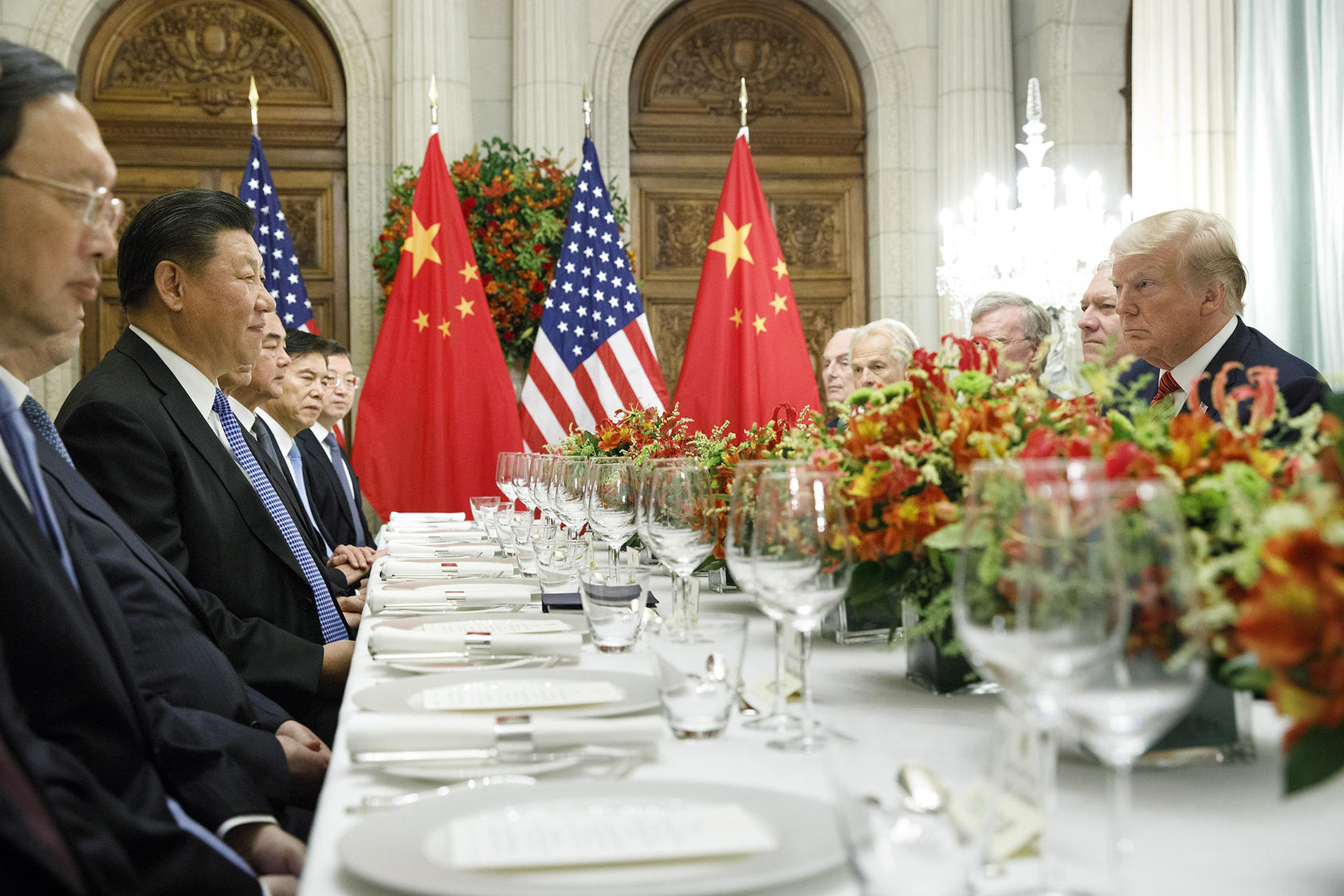 President Donald Trump participates in a bilateral dinner meeting with President Xi Jinping of China, during the G-20 Summit in Buenos Aires, Argentina, Dec. 1, 2018. (Tom Brenner/The New York Times)