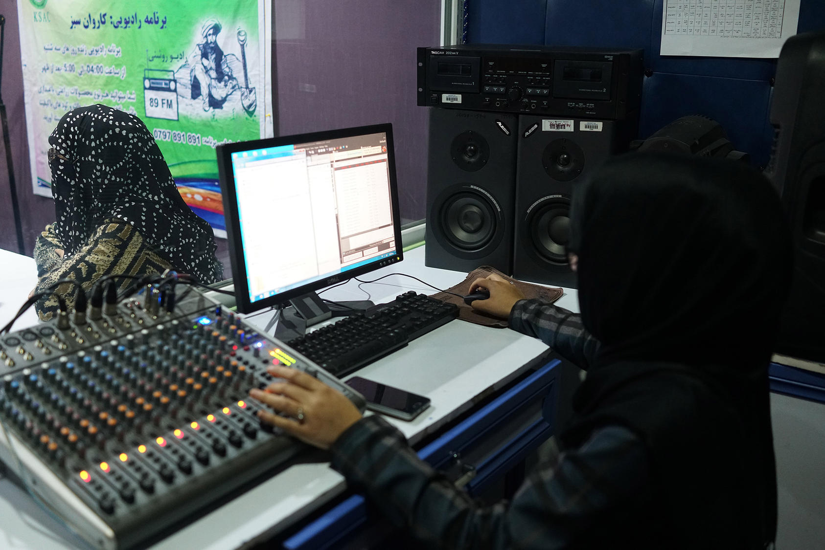 Radio Roshani, a shortwave station that educates women about their rights, which was briefly captured by the Taliban, who set fire to the studio in 2015, in Kunduz, Afghanistan, on March 2019. (Cora Engelbrecht/The New York Times)