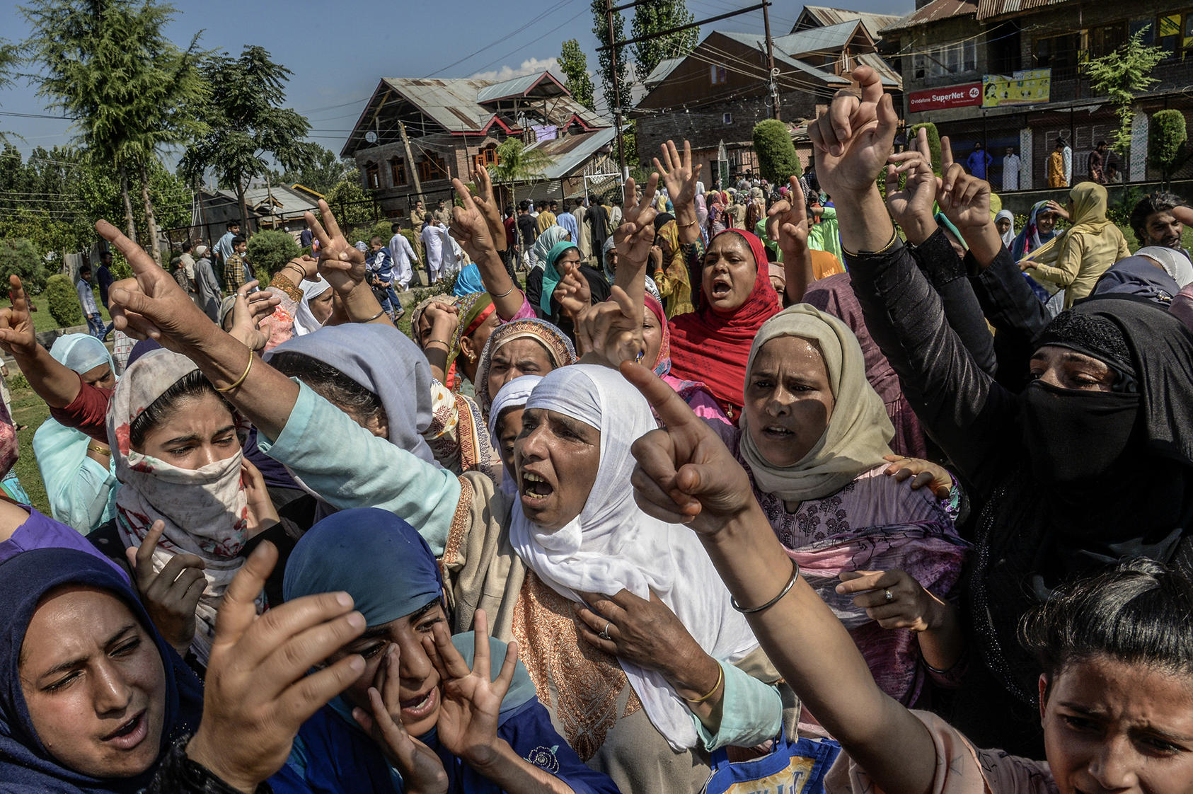 A protest against the ending of Kashmir's limited autonomy in Srinagar, India, Aug. 12, 2019. (Atul Loke/The New York Times)