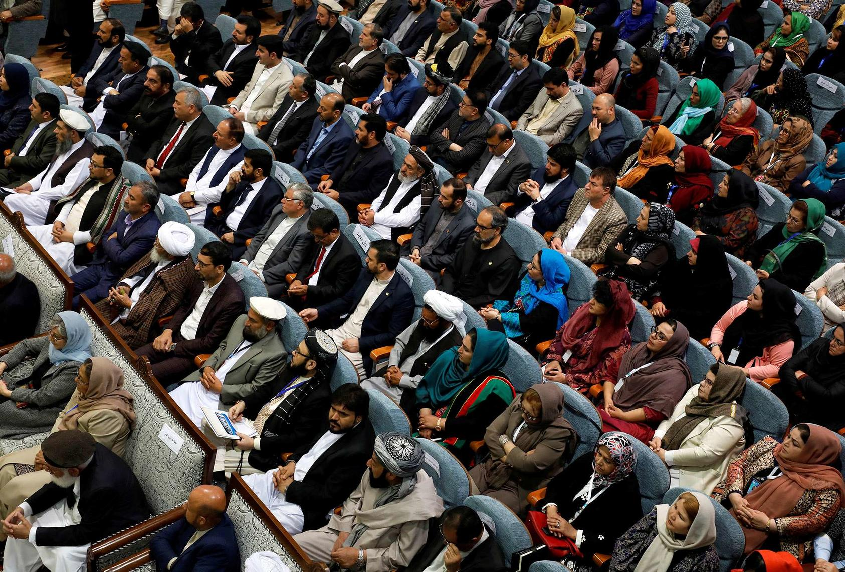 Delegates assemble at the Consultative Peace Loya Jirga in Kabul on April 29, 2019, to discuss an approach for achieving peace with the Taliban. (Omar Sobhani/Reuters)