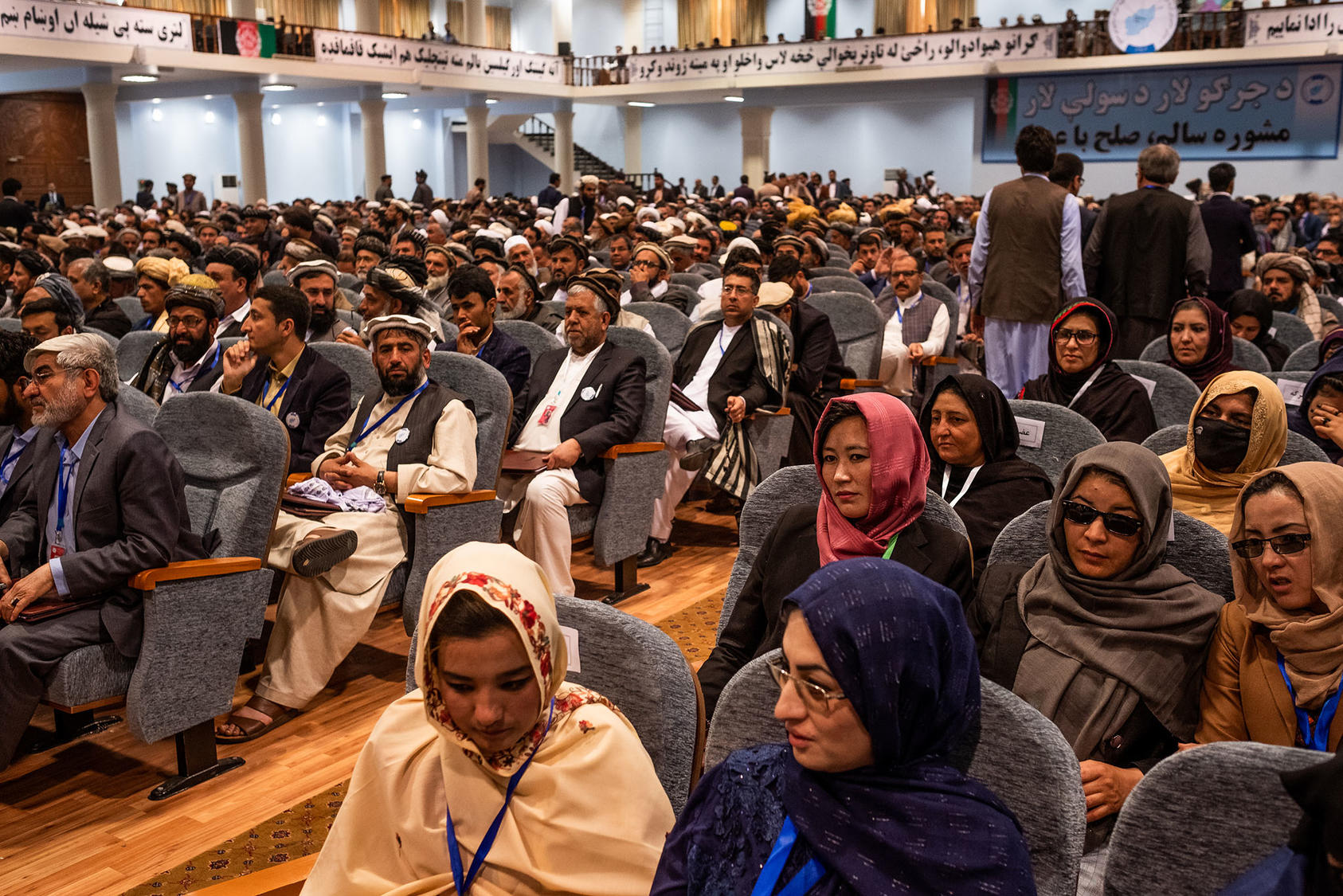 The opening session of the loya jirga, a yearly tribal assembly where some 30 percent of participants are now women, in Kabul, Afghanistan, April 29, 2019. (Jim Huylebroek/The New York Times)
