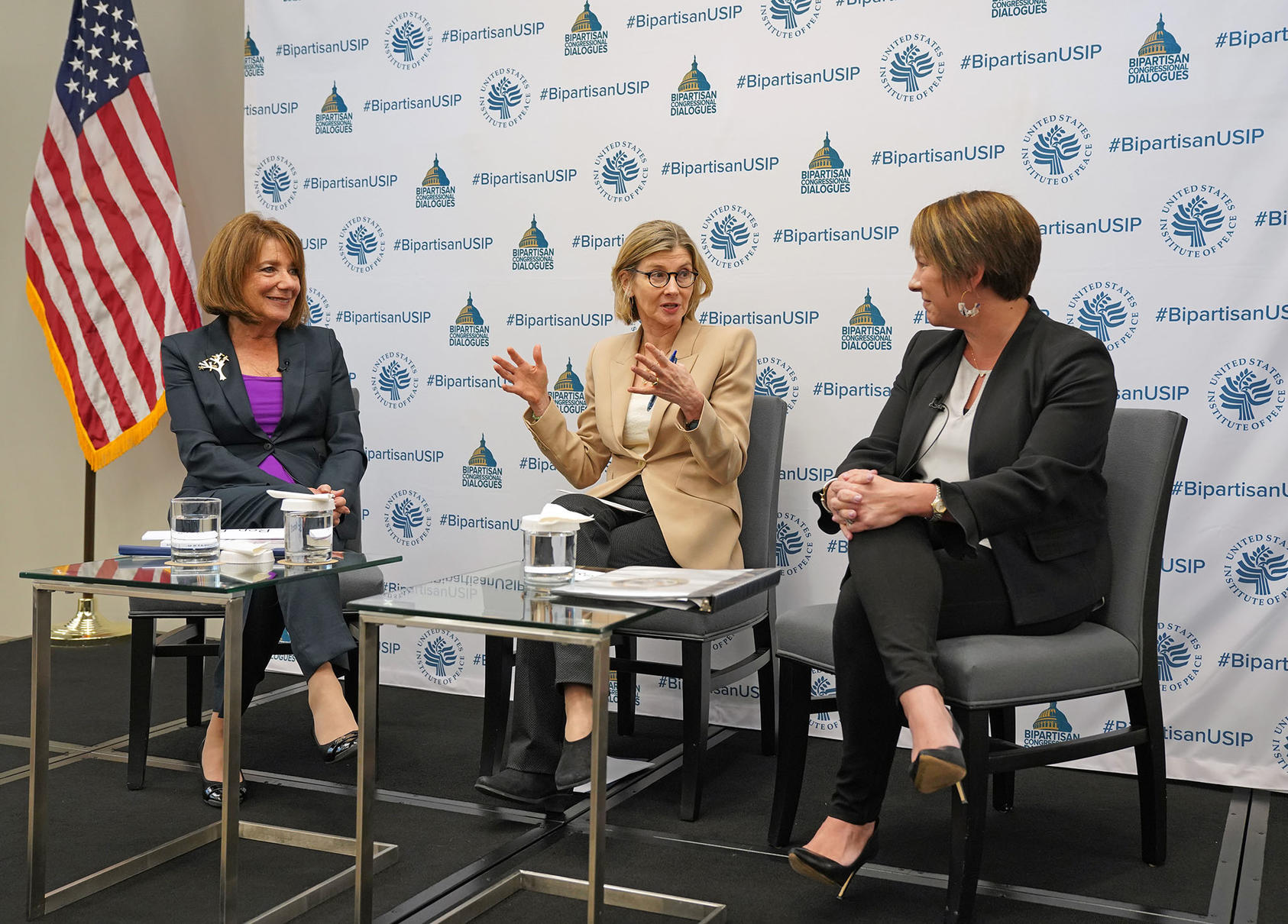 From left to right: Rep. Susan Davis (D-CA), USIP President and CEO Nancy Lindborg and Rep. Martha Roby (R-AL) discuss Afghanistan at the U.S. Institute of Peace on October 18, 2019.