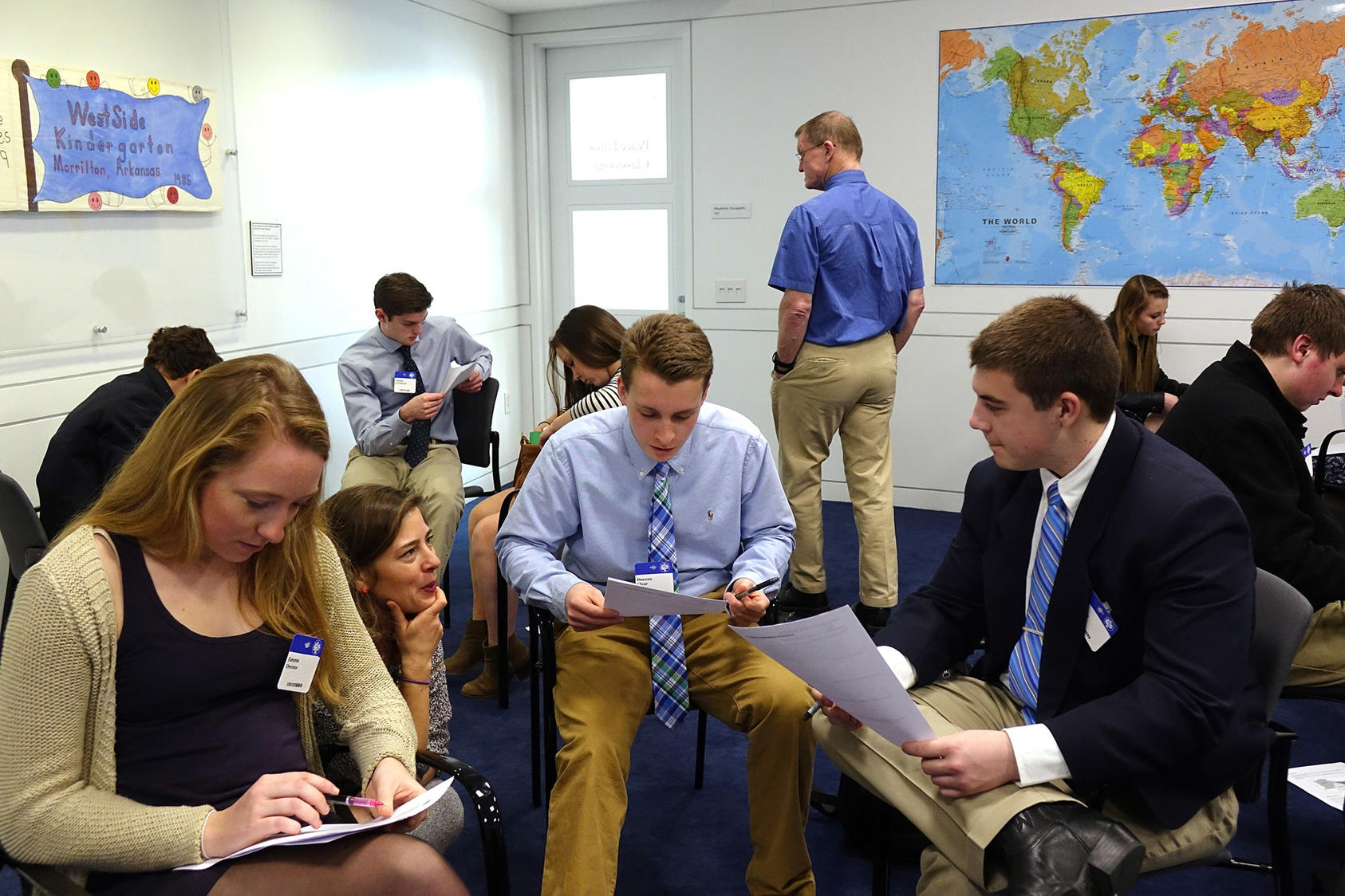 Students from Champlain Valley Union High School participate in an educational workshop at the U.S. Institute of Peace.