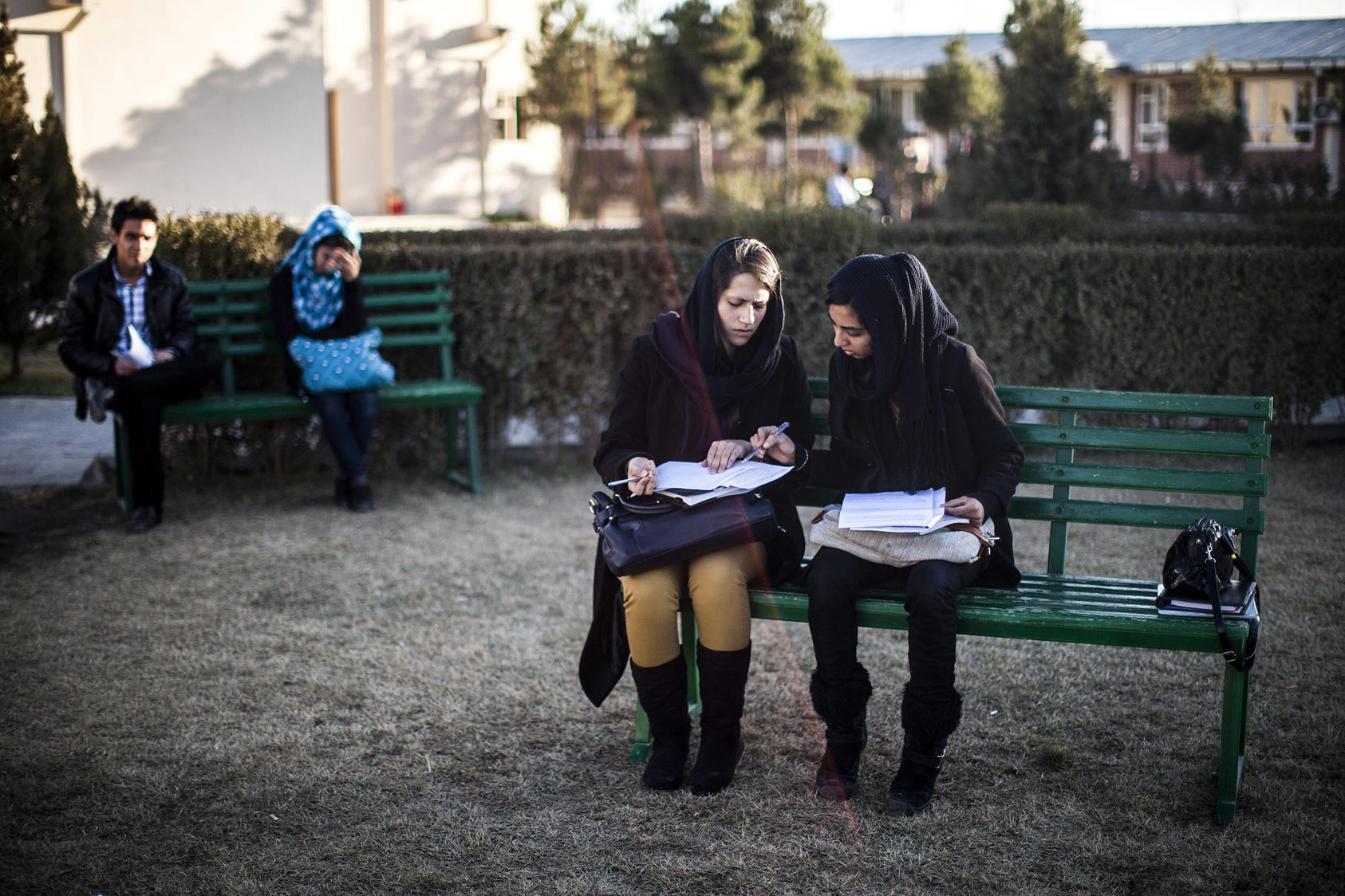 Students at the American University of Afghanistan study in Kabul, Afghanistan. (Bryan Denton/The New York Times)