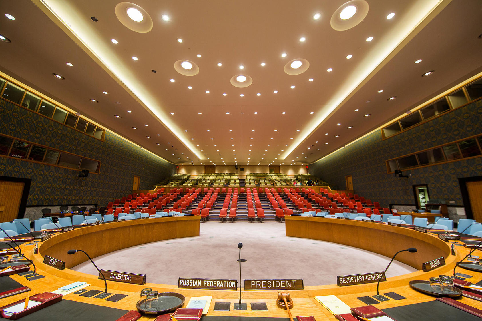 The Security Council Chamber at the United Nations headquarters, in Manhattan, Sept. 1, 2015. (Piotr Redlinski/The New York Times)