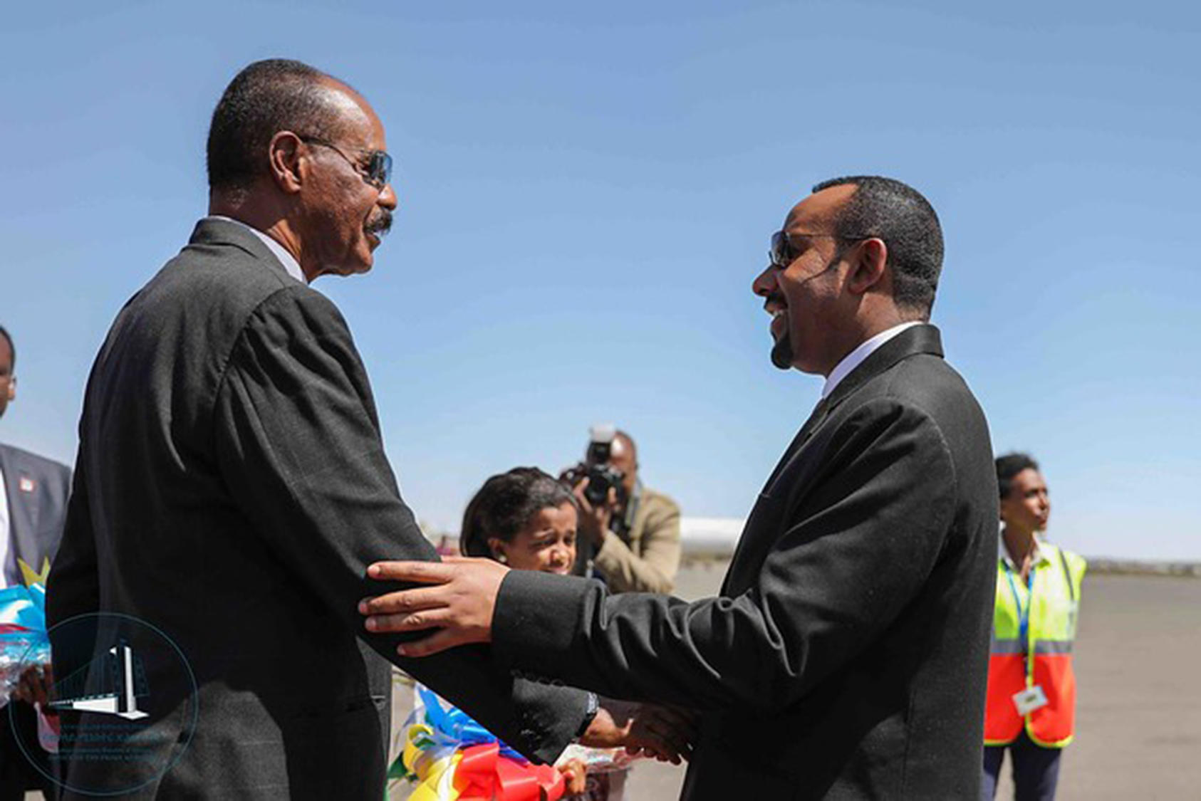 Ethiopia's Abiy Ahmed (right) greets Eritrean President Isaias Afwerki at a bilateral summit in Asmara, Eritrea, July 8, 2018. (Odaw/Wikimedia Commons)