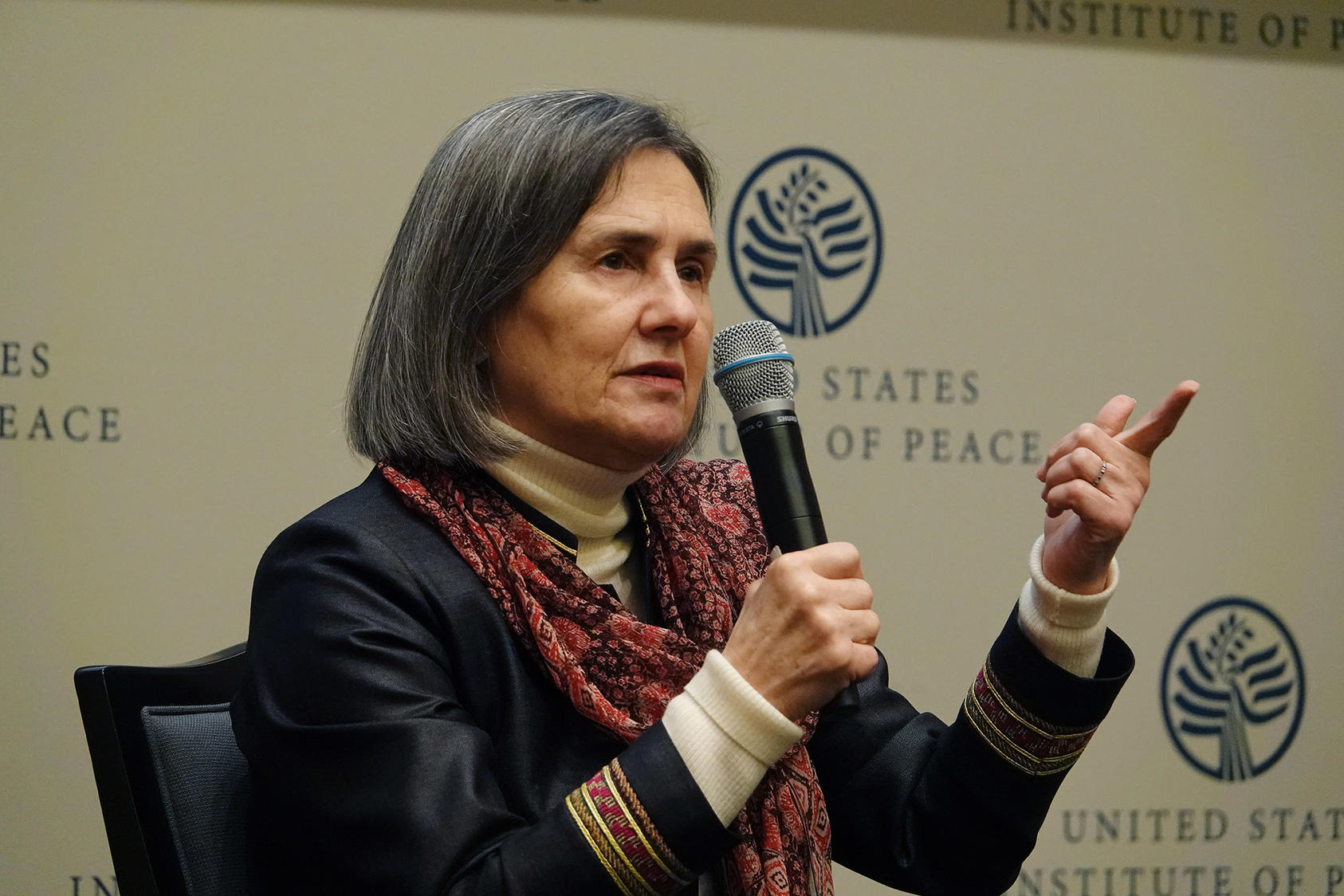 "Afghan First Lady Rula Ghani spoke November 14 at USIP. ""Afghanistan is progressing … in the right direction,"" she said. ""I want to tell everybody who has sacrificed for Afghanistan that their effort was not in vain."""