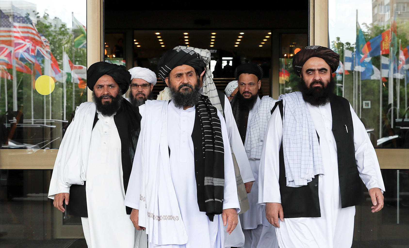 Members of a Taliban delegation, led by chief negotiator Mullah Abdul Ghani Baradar, after peace talks with senior Afghan politicians in Moscow on May 30, 2019. (Evgenia Novozhenina/Reuters)