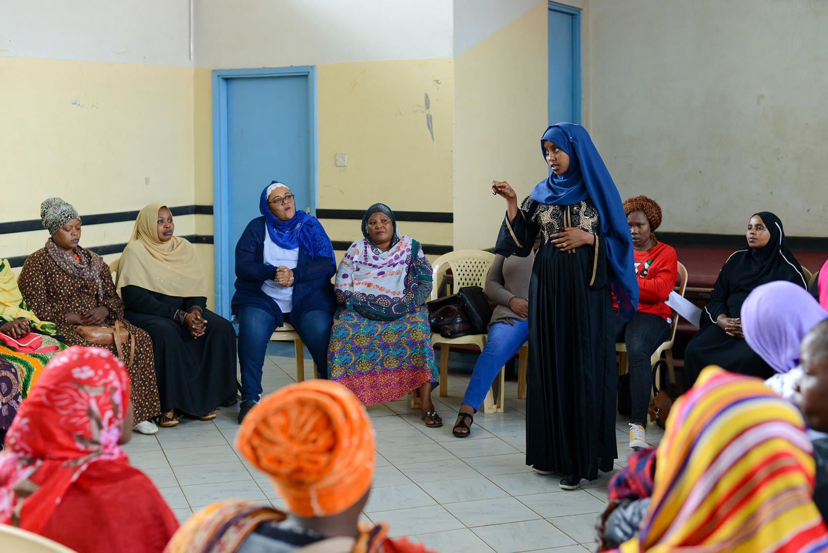 A June 2019 dialogue on preventing extremism in the Eastleigh community of Nairobi, Kenya, organized by the Sisters Without Borders network, USIP's partner for the Women Preventing Violent Extremism–Horn of Africa project. (Steven Ruder/USIP)