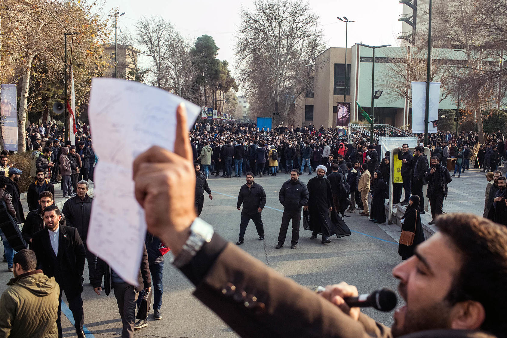 Anti-government protesters rally at Tehran University in Tehran on Tuesday, Jan. 14, 2020. (Arash Khamooshi/The New York Times)