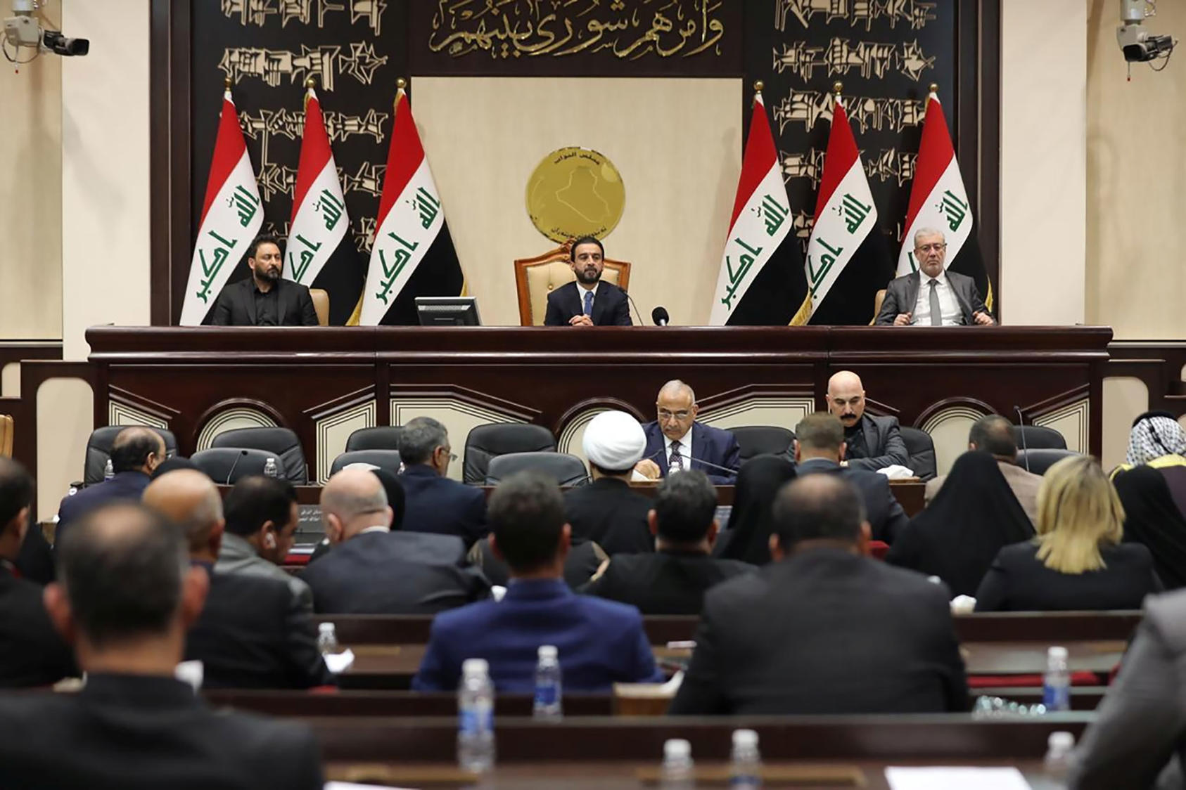 A meeting of the parliament of Iraq in Baghdad, Jan. 5, 2020. (Iraqi Prime Minister's Press Office via The New York Times)