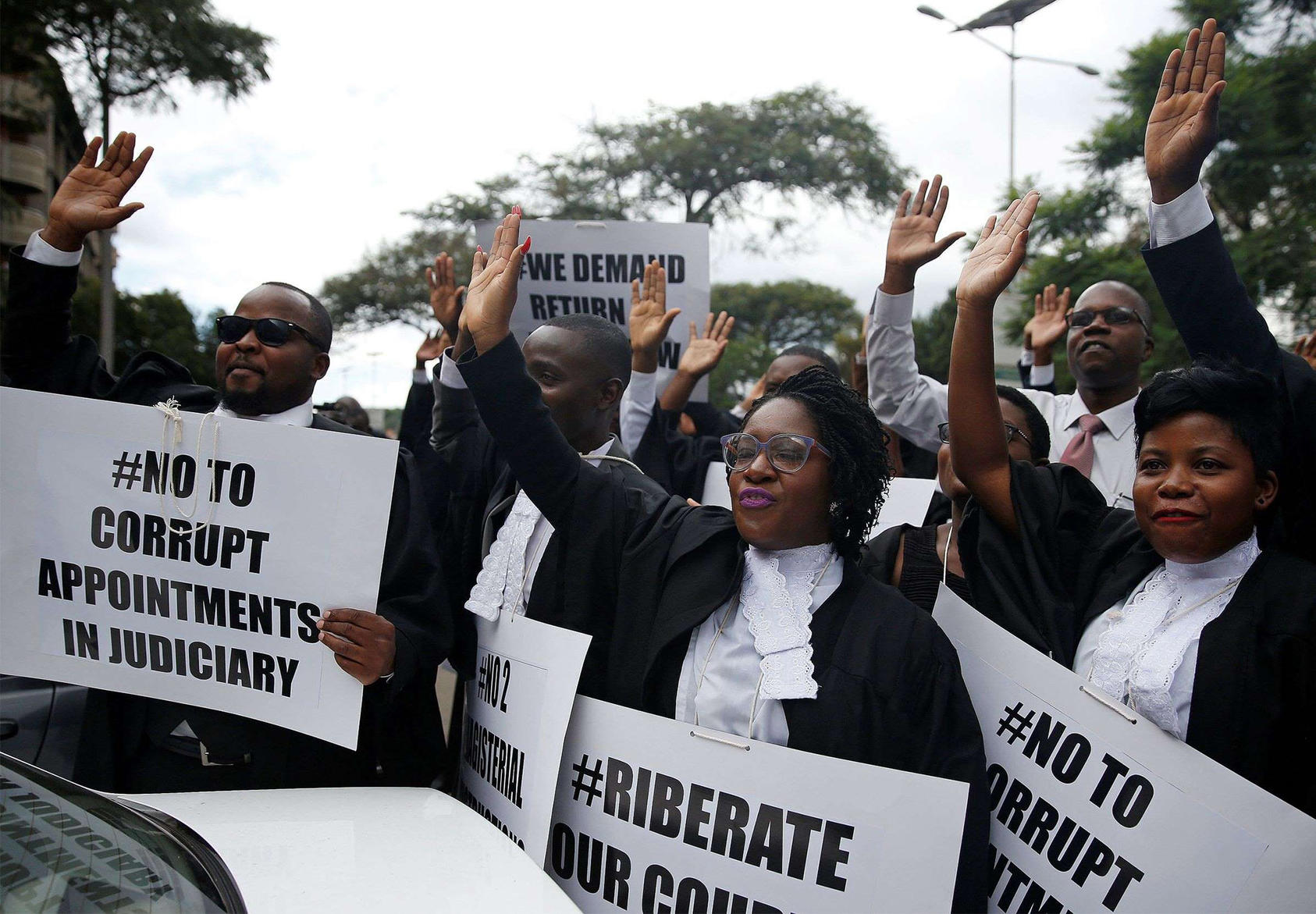 Zimbabwean lawyers march to demand justice for people detained in the government's crackdown on violent protests in January 2019. (Philimon Bulawayo/Reuters)