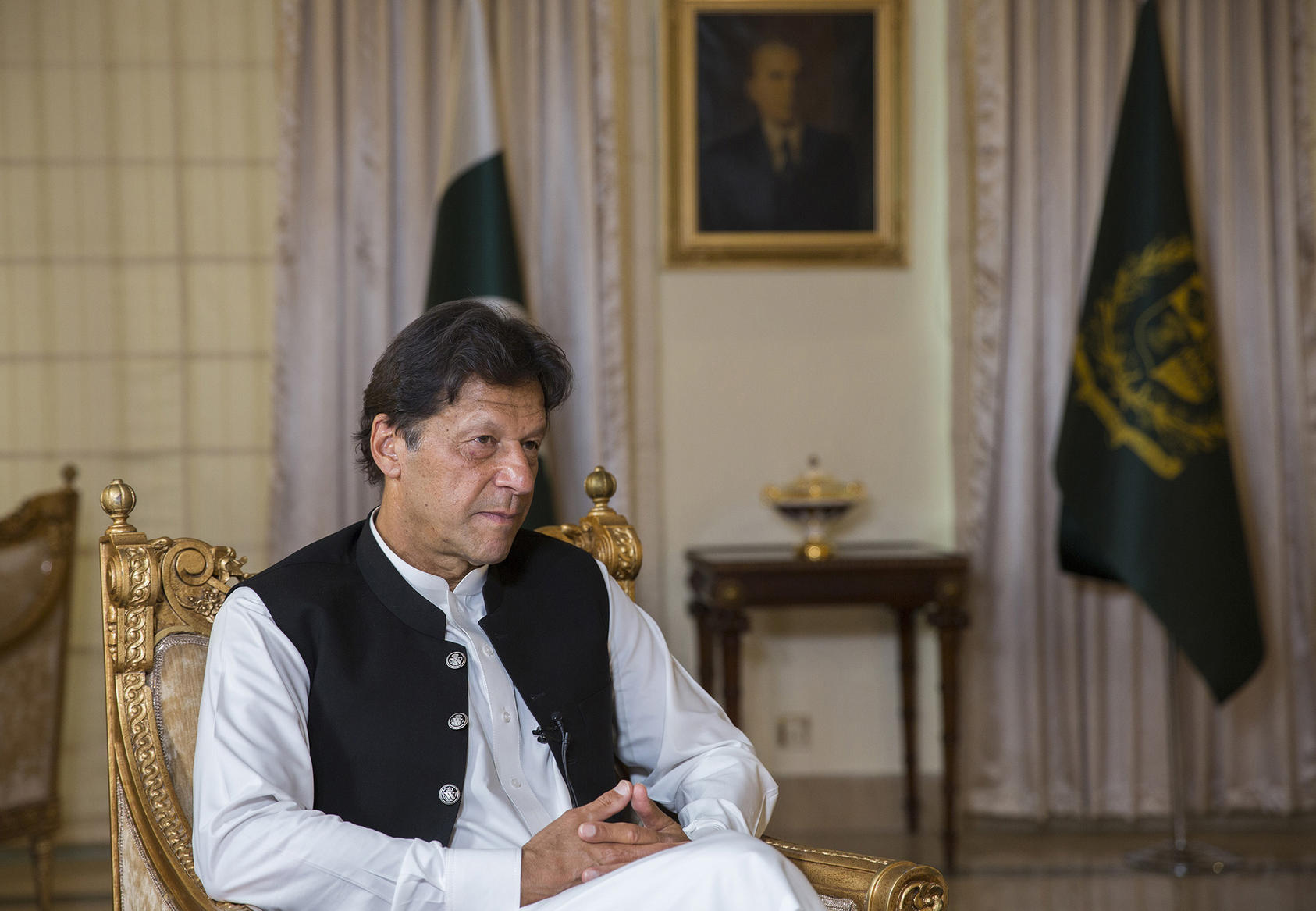 Prime Minister Imran Khan of Pakistan at his residence in Islamabad, Pakistan, April 9, 2019. (Saiyna Bashir/The New York Times)