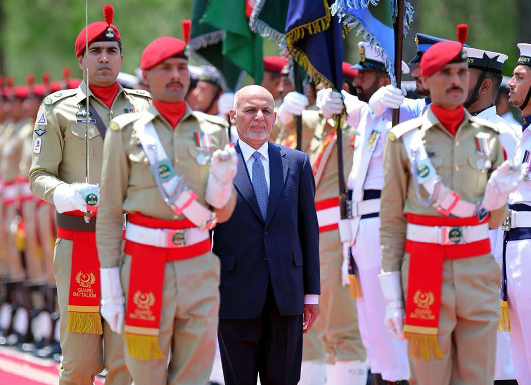 Afghan President Ashraf Ghani arrives in Islamabad on June 27, 2019, for a meeting with Pakistani Prime Minister Imran Khan. (Press Information Department via AP)