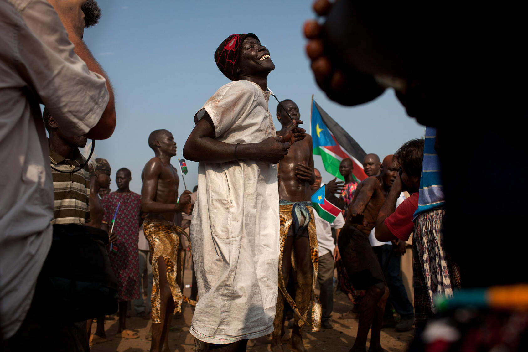 Revelers sing and dance as they celebrate their nation's independence in Juba, South Sudan, July 9, 2011. (Tyler Hicks/The New York Times)