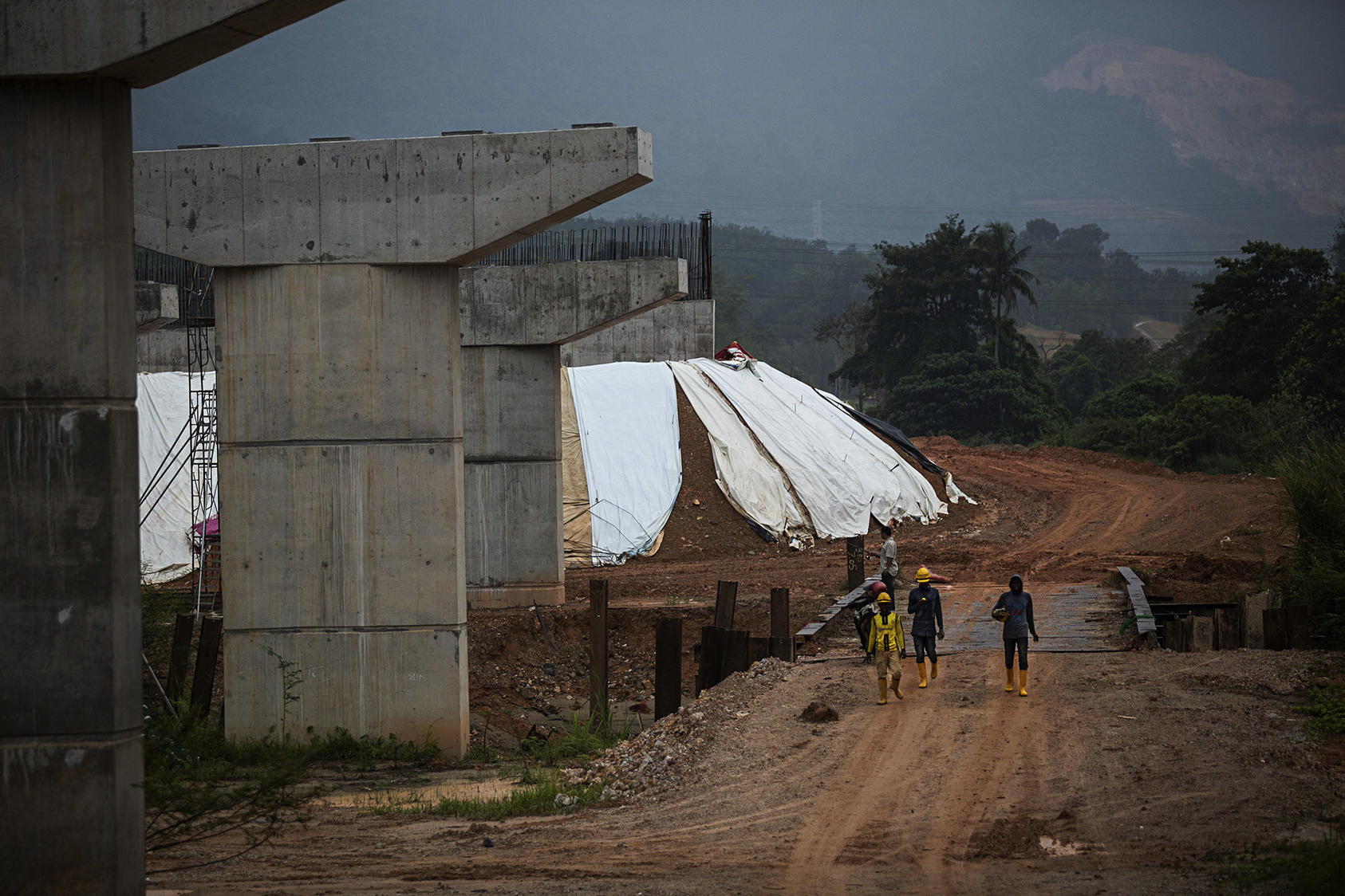 Construction on the East Coast Rail Link project, part of China's Belt and Road Initiative, in Bentong, Malaysia, Nov. 17, 2018. (New York Times)