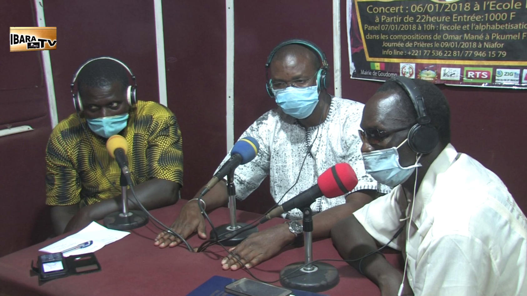 Local officials in Casamance, including Goudomp Mayor Malang Cissé (middle), host a radio town hall on the regional coronavirus response.