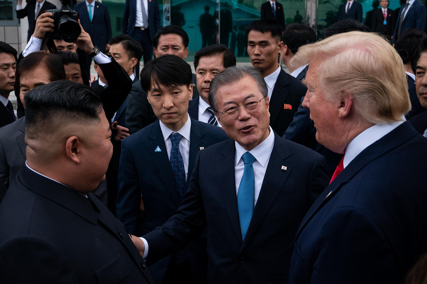 North Korea's Kim Jong Un, South Korean President Moon Jae-in and President Donald Trump met at the Korean demilitarized zone in June 2019. North Korea is showing frustration at not winning its goals through diplomacy. (Erin Schaff/The New York Times)