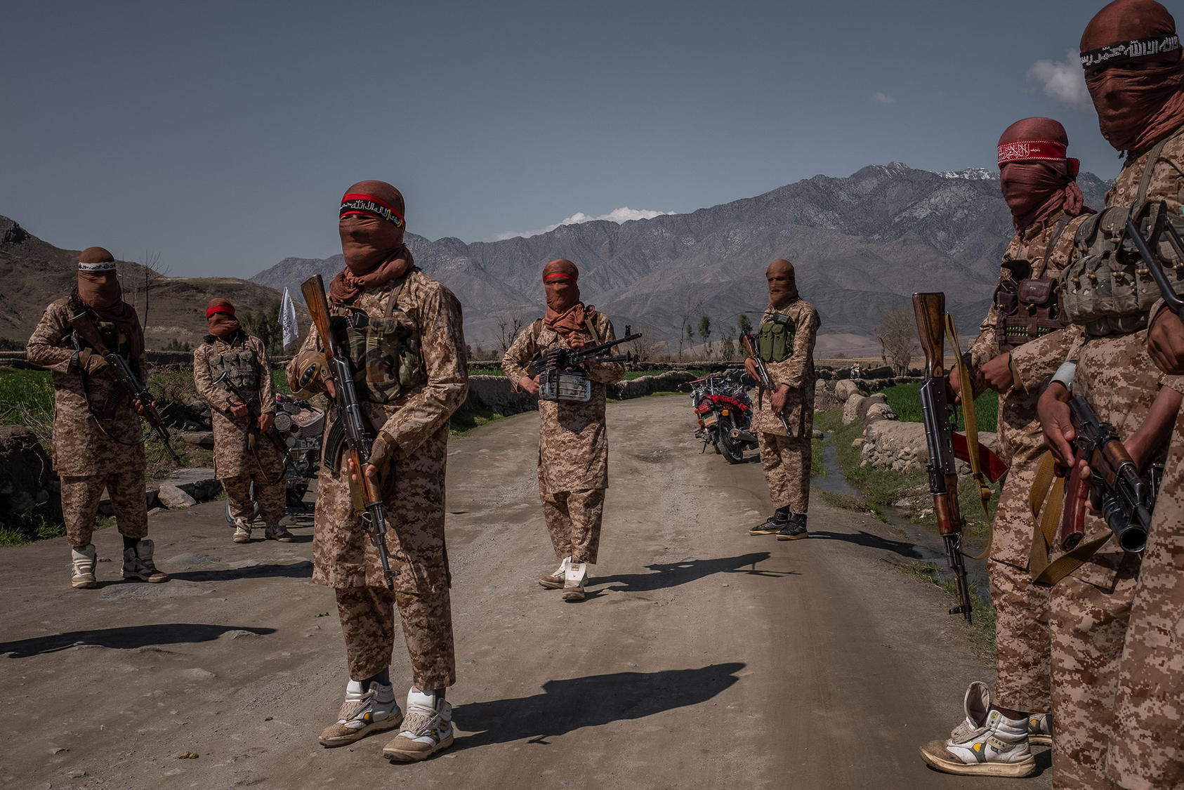 Members of a Taliban Red Unit, an elite force, in the Alingar District of Laghman Province in Afghanistan, March 13, 2020. (Jim Huylebroek/The New York Times)
