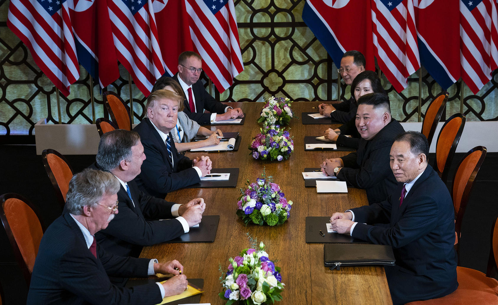 U.S. President Donald Trump sits across from Kim Jong Un, the leader of North Korea, during a February 2019 meeting in Vietnam. (Photo by Doug Mills/New York Times)