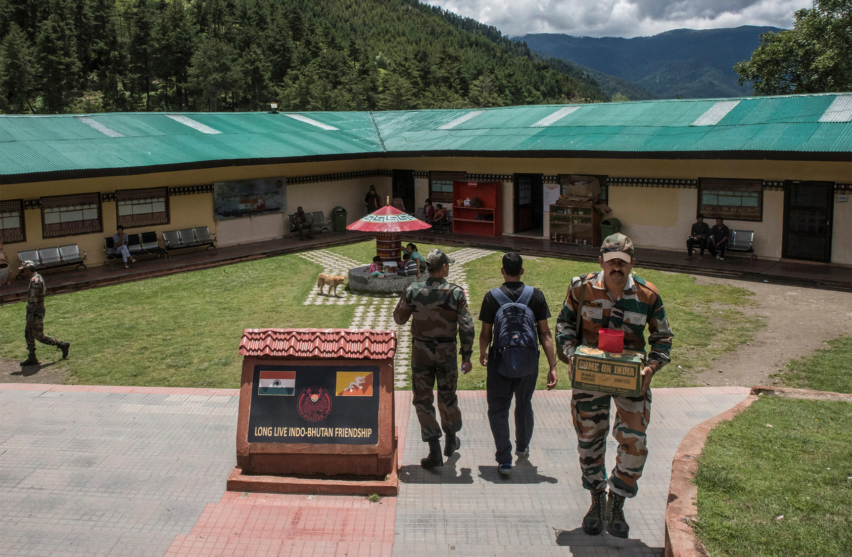 An Indian soldier at a military facility in Haa, Bhutan, near a border area claimed by both India and China. Aug. 3, 2017. (Gilles Sabrie/The New York Times)