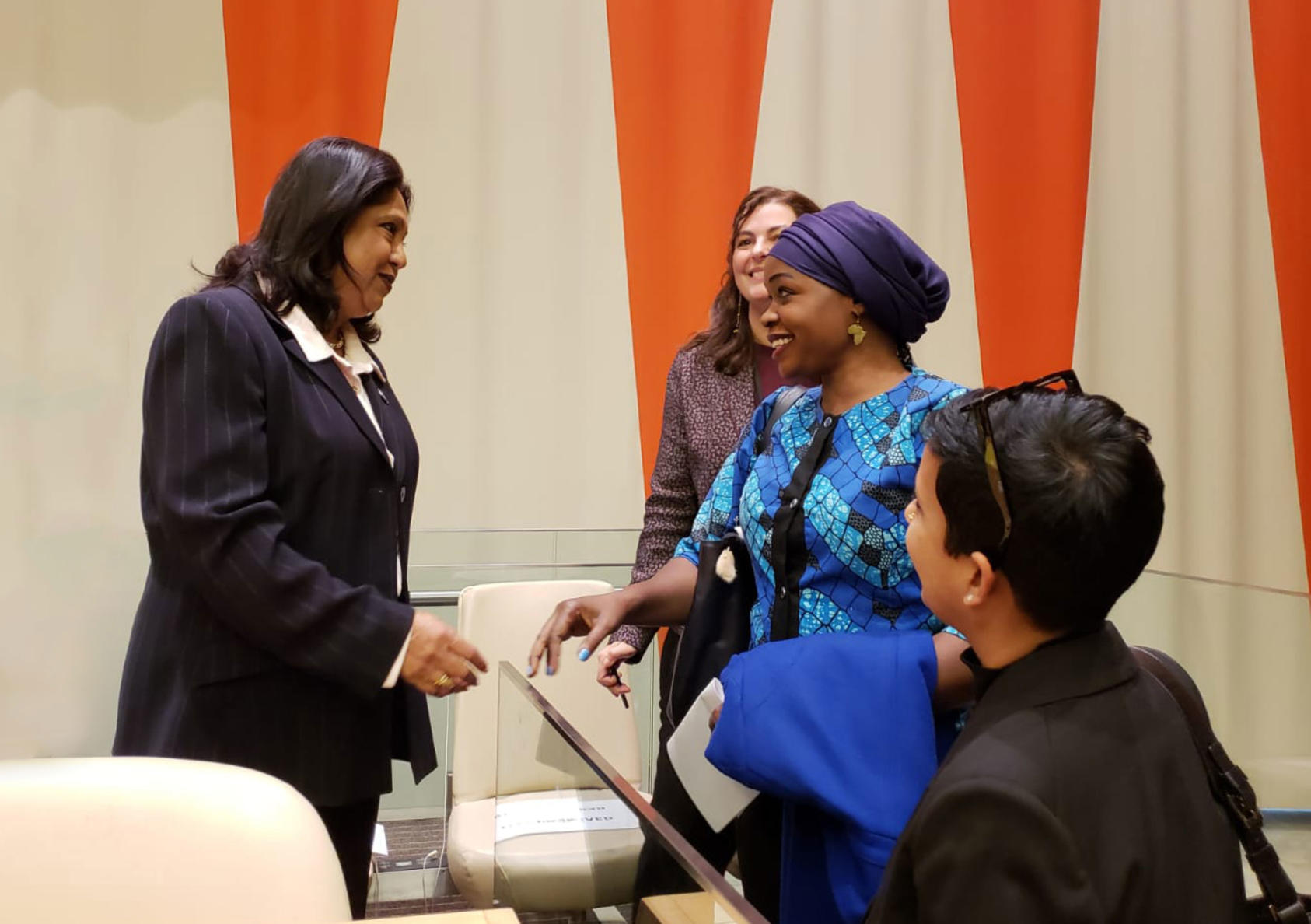 Rita Lopidia meets Pramila Patten, left, a representative of the U.N. secretary general, at the United Nations in 2018, when both women briefed the U.N. Security Council on the widespread atrocities of sexual violence amid warfare