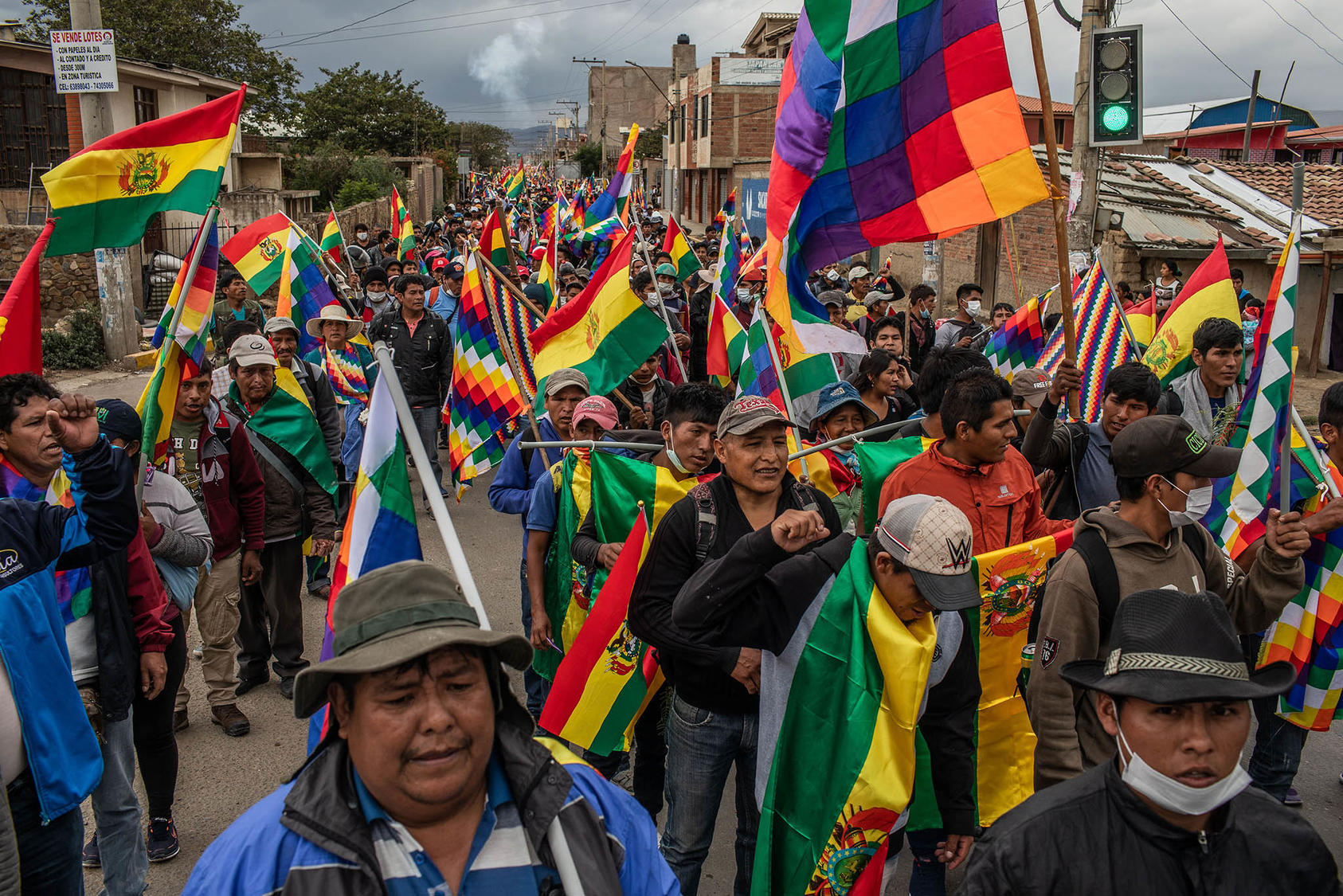 Demonstrators protest the transitional government in Sacaba, Bolivia, Nov. 14, 2019. The ouster of Bolivia's first indigenous president exposed the deep rift between Bolivia's Europeanized elite and majority indigenous population. (Victor Moriyama/The New York Times)