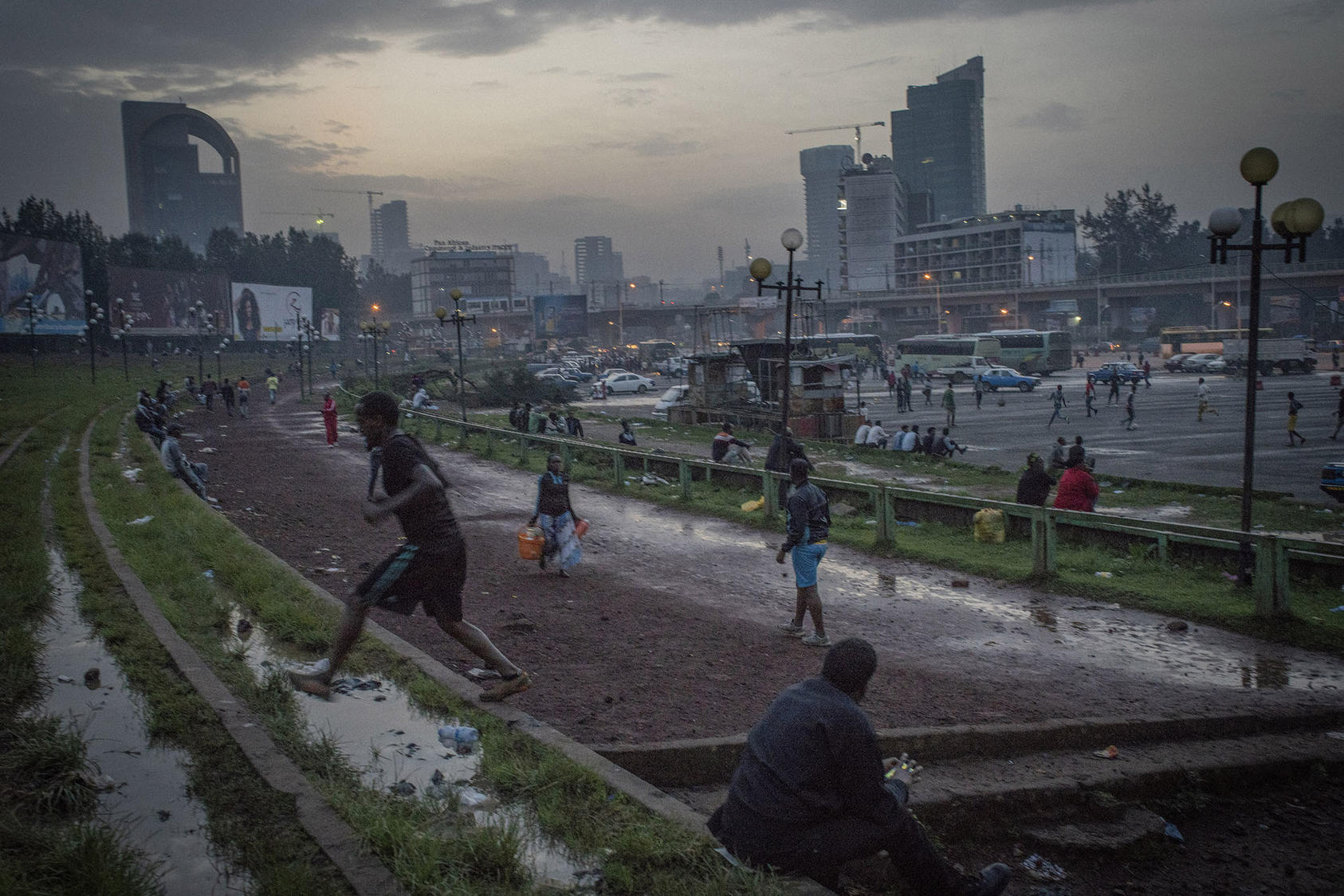 People gather at Meskel Square in Addis Ababa, the capital of Ethiopia, June 25 2018. (Laura Boushnak/The New York Times)