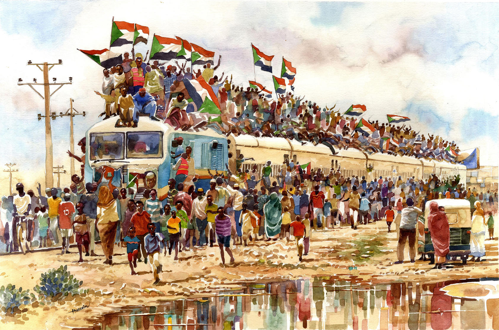Hussein Merghani's watercolor of hundreds of people from Atbara traveling to join the sit-in at the military headquarters in Khartoum in April 2019.