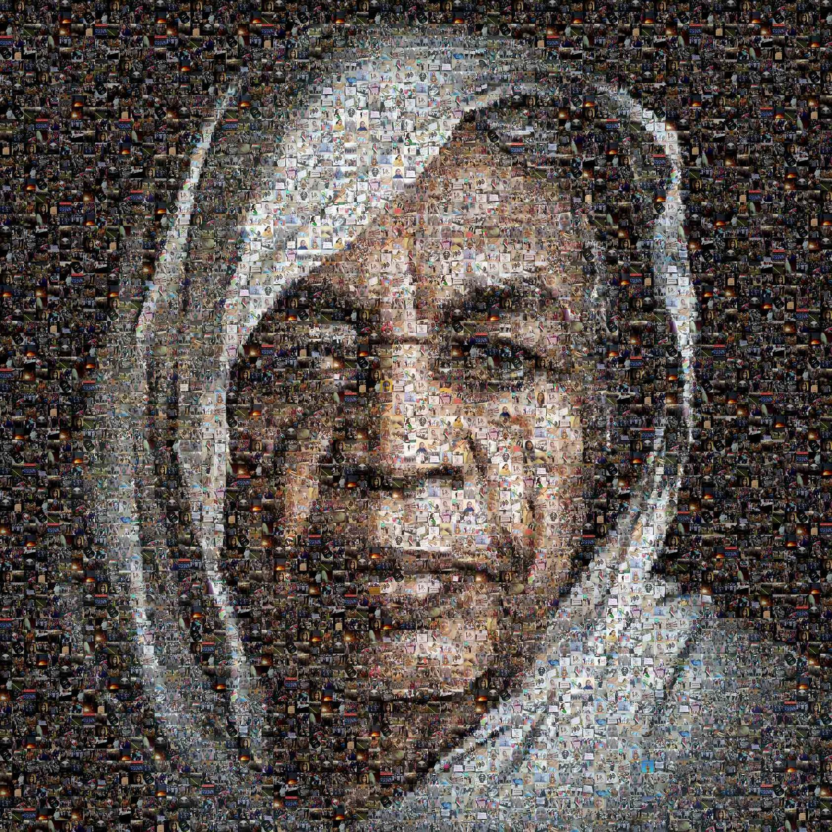 Merghani Salih's mosaic of the 'The Kandaka' highlighted women's contribution to the revolution. Originally shared on social media, it was later shared in news media, at venues internationally, and at the military headquarters sit-in in May 2019.