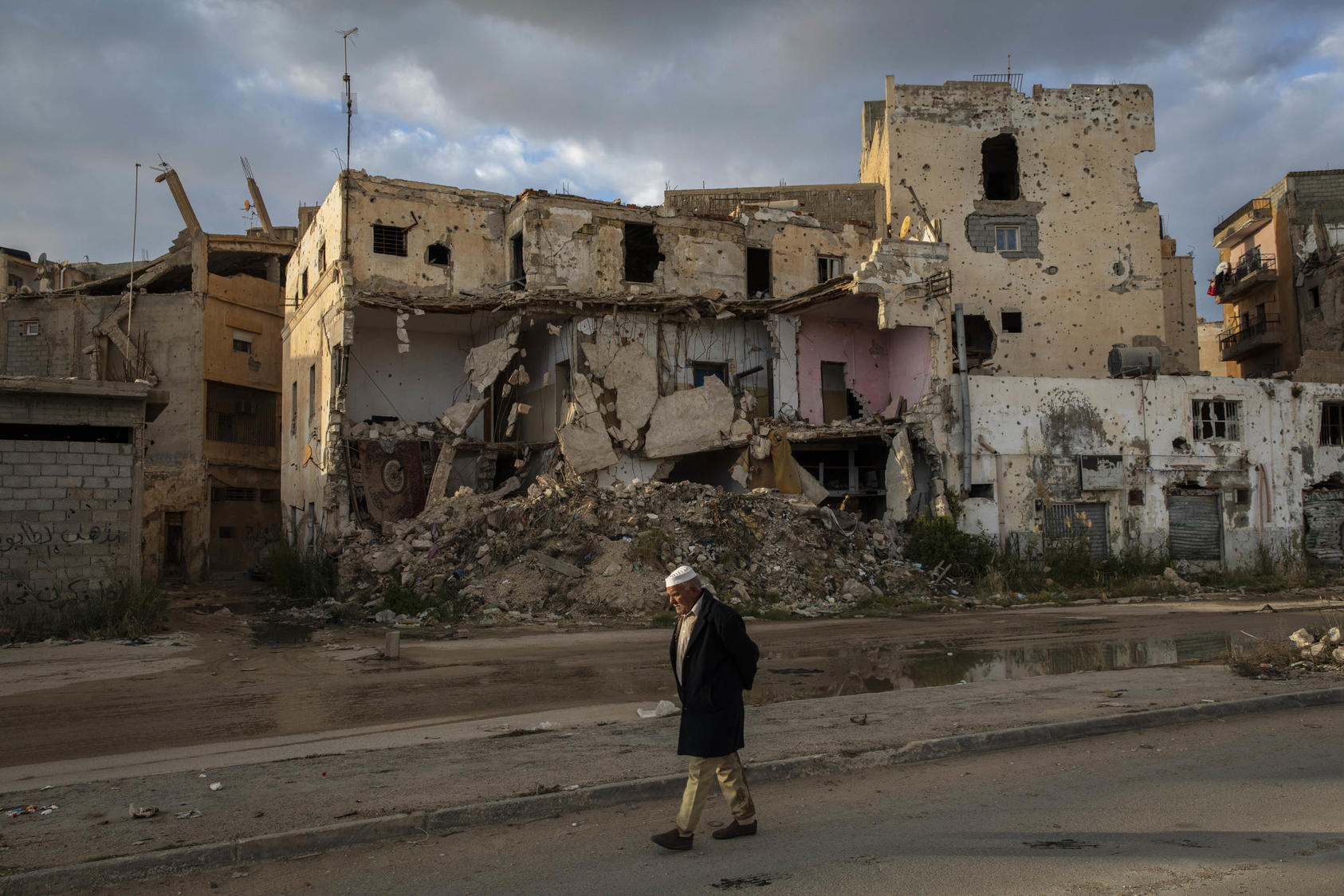 Buildings in ruins in the historic center of Benghazi, Libya, Jan 20, 2020, after years of conflict to drive out the Islamic State group and fighting between warring factions. (Ivor Prickett/The New York Times)