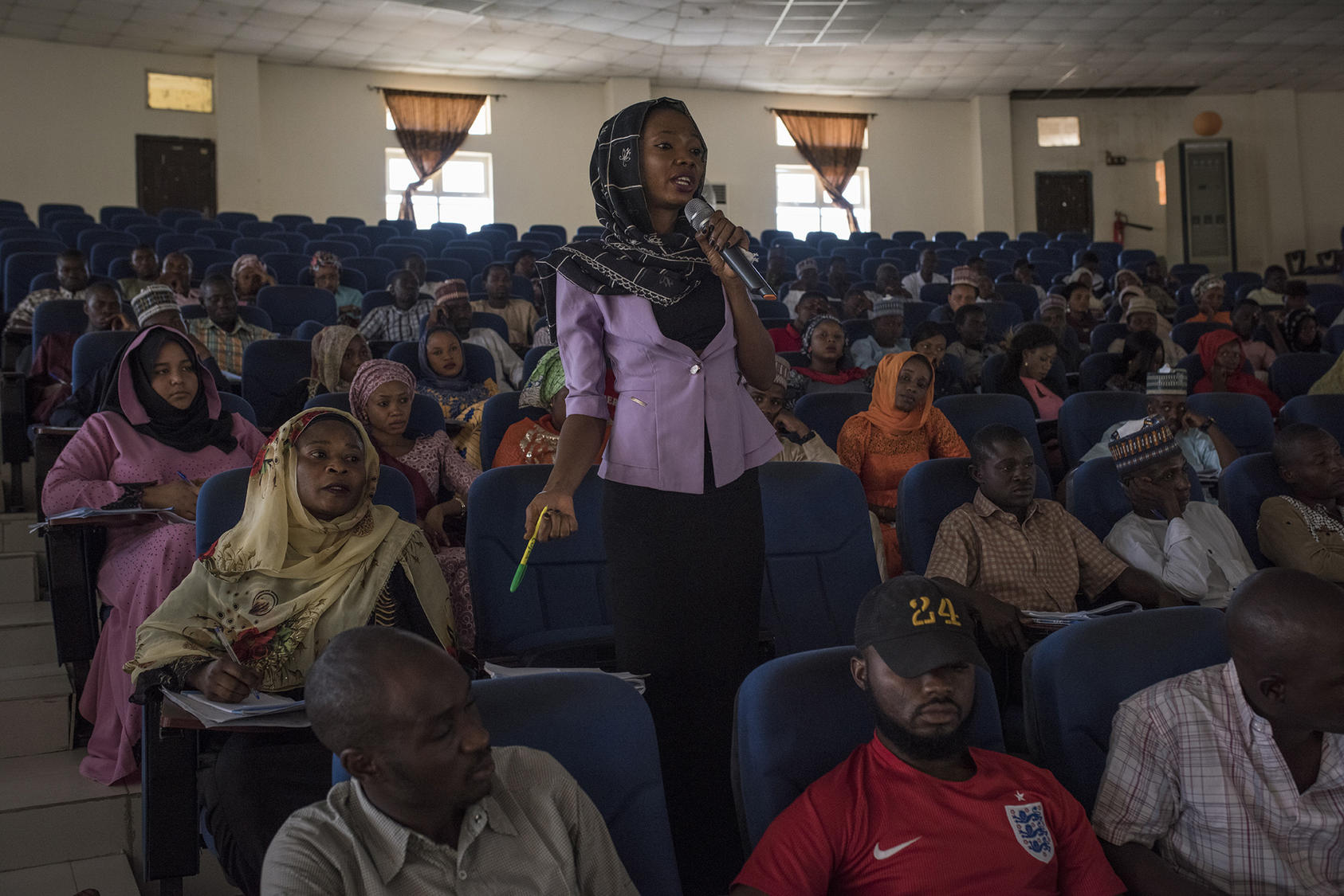 A student participates in a discussion during a gender ethics class at the University of Maiduguri, in Nigeria, Dec. 2, 2017. (Adam Ferguson/The New York Times)