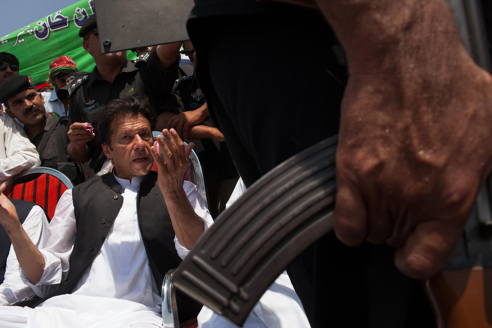 Prime Minister Imran Khan during a campaign rally for Pakistan's 2013 parliamentary elections in the Swabi District of Pakistan. (Tyler Hicks/The New York Times)