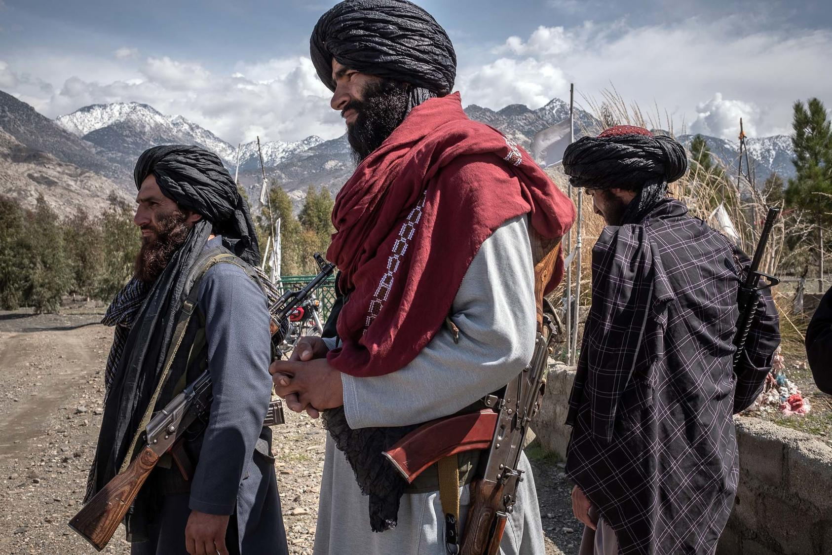 Members of the Taliban in Laghman Province, Afghanistan, on March 13, 2020. Many fear that the extremist group will return to power after the Americans leave. (Jim Huylebroek/The New York Times)