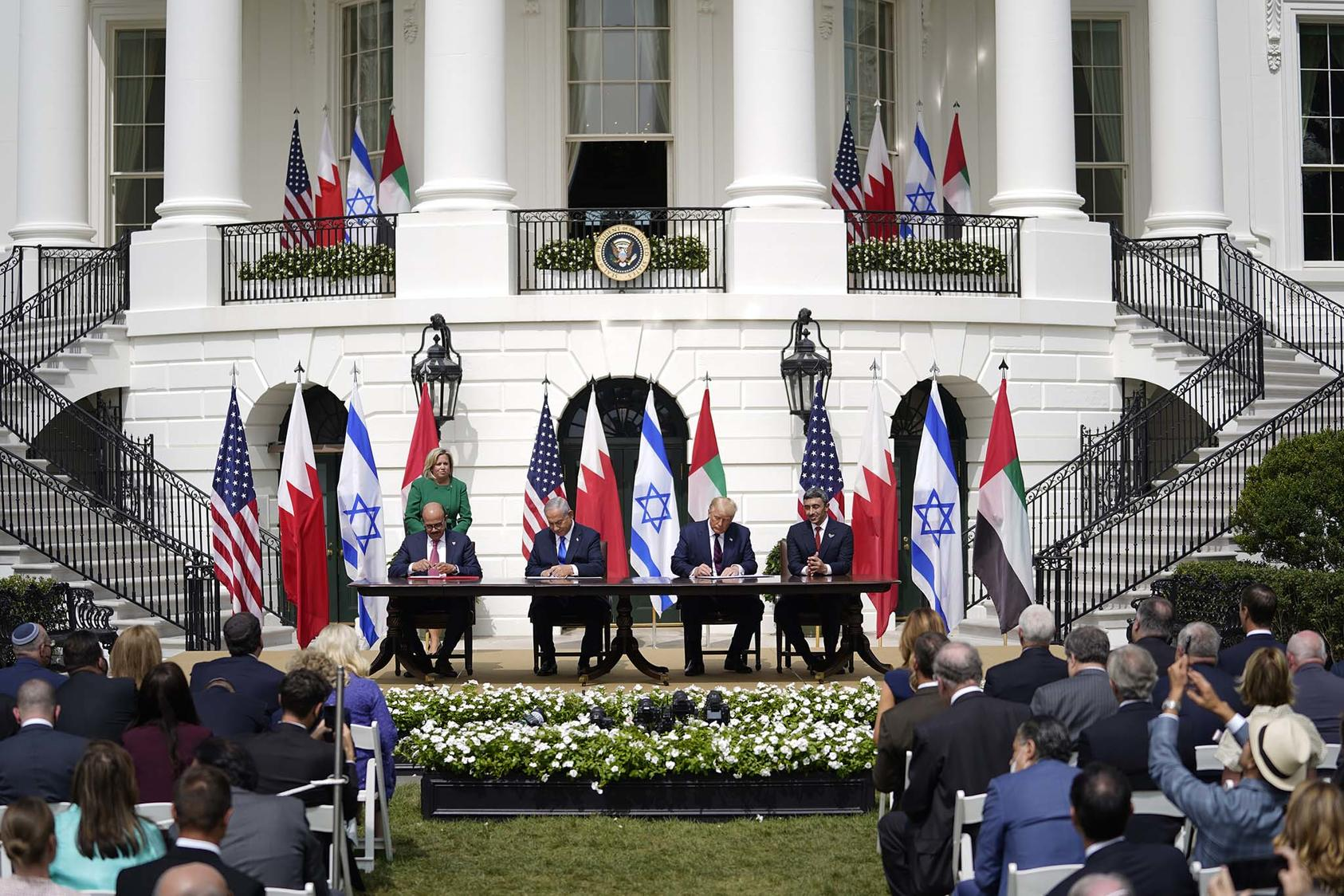 Representatives from Bahrain, Israel and the United Arab Emirates with President Trump during a signing ceremony for normalization agreements between Israel and the Arab states, Sept. 15, 2020. (Doug Mills/The New York Times)
