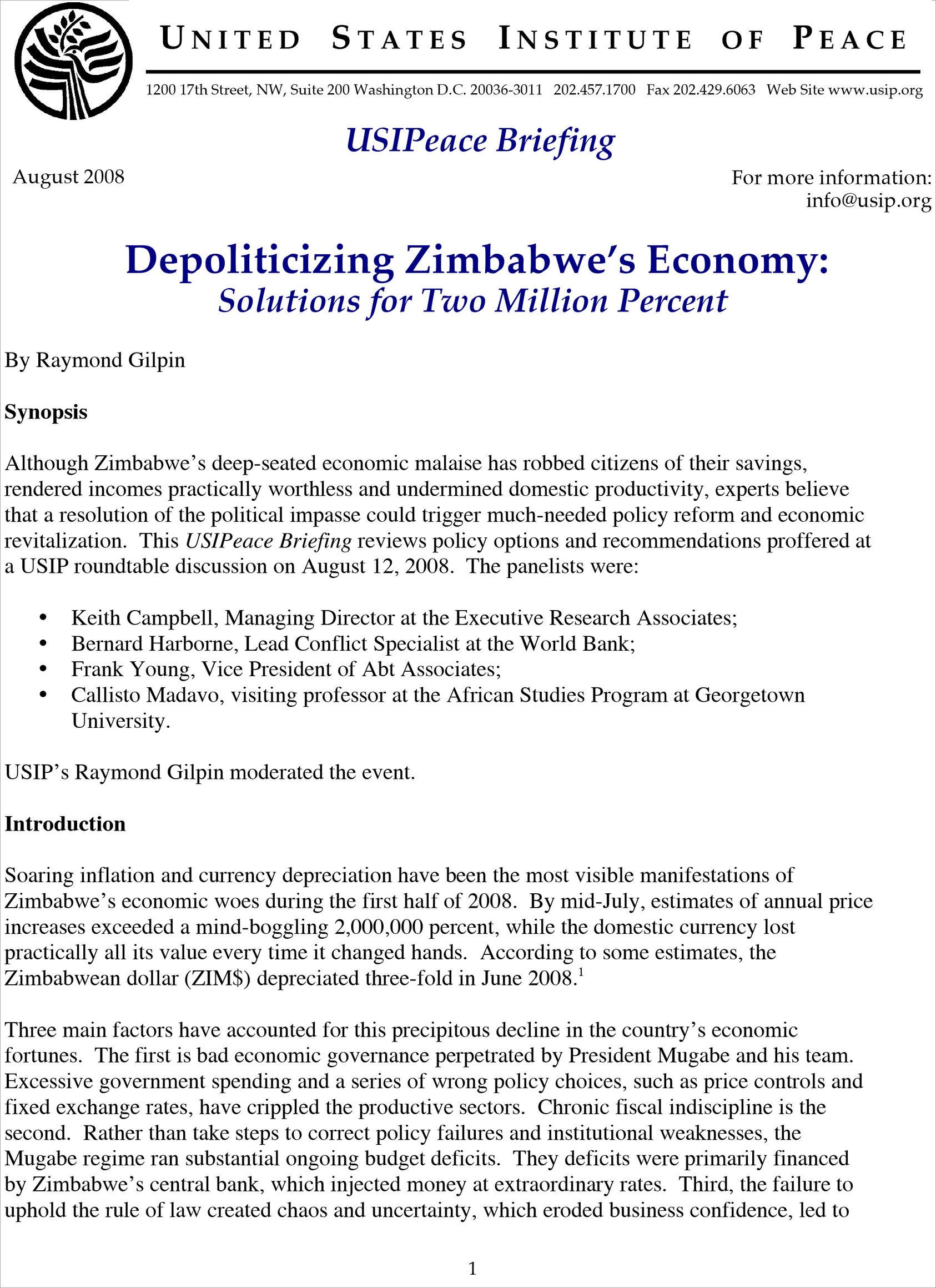 Depoliticizing Zimbabwe's Economy: Solutions for Two Million Percent
