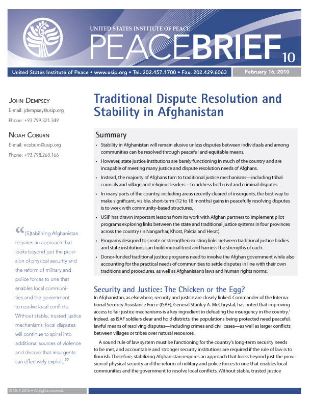 Traditional Dispute Resolution and Stability in Afghanistan