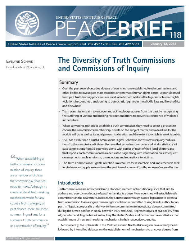 Peace Brief: The Diversity of Truth Commissions and Commissions of Inquiry