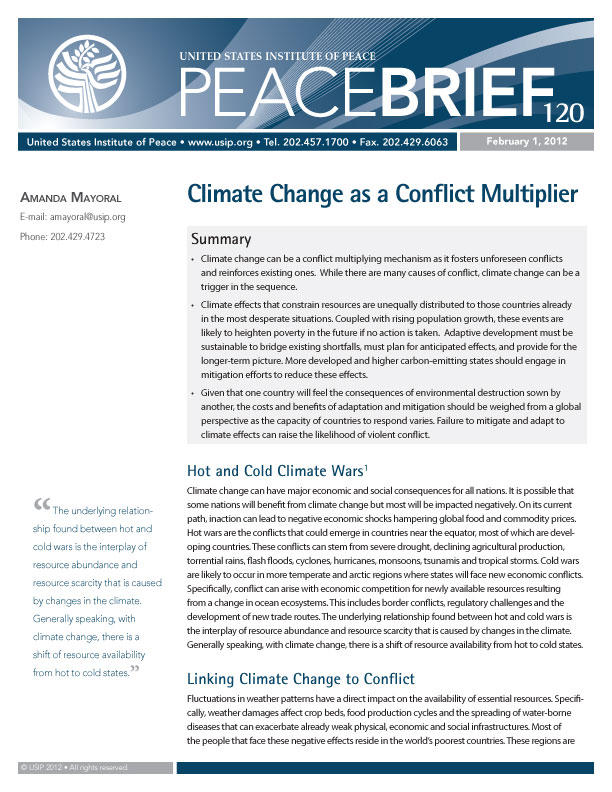 Peace Brief: Climate Change as a Conflict Multiplier