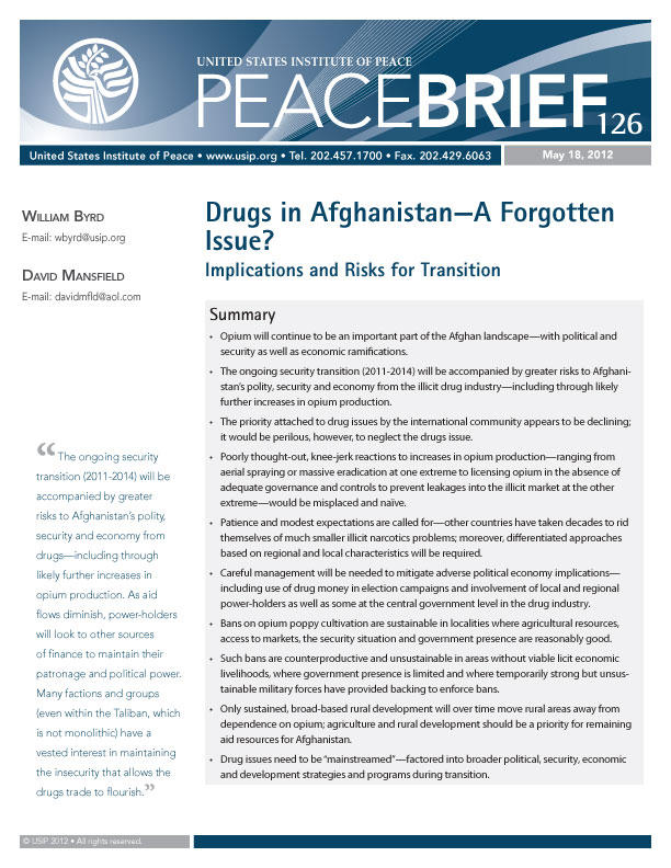 Peace Brief: Drugs in Afghanistan—A Forgotten Issue?