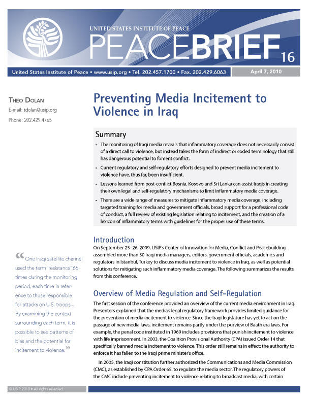 Peace Brief: Crisis in Mali: Preventing Media Incitement to Violence in Iraq