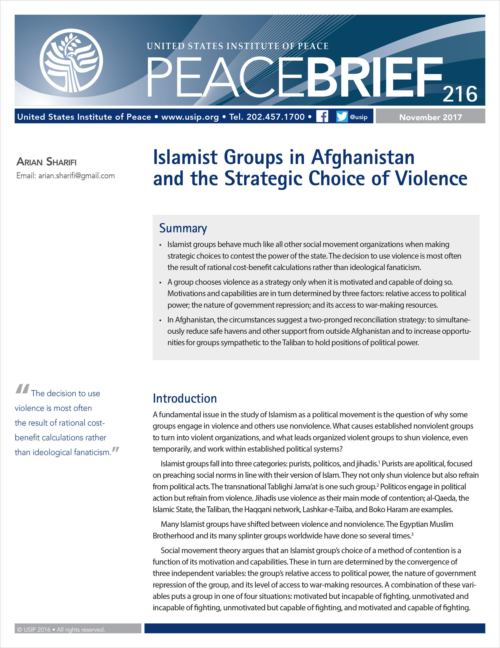 Islamist Groups in Afghanistan and the Strategic Choice of Violence ...