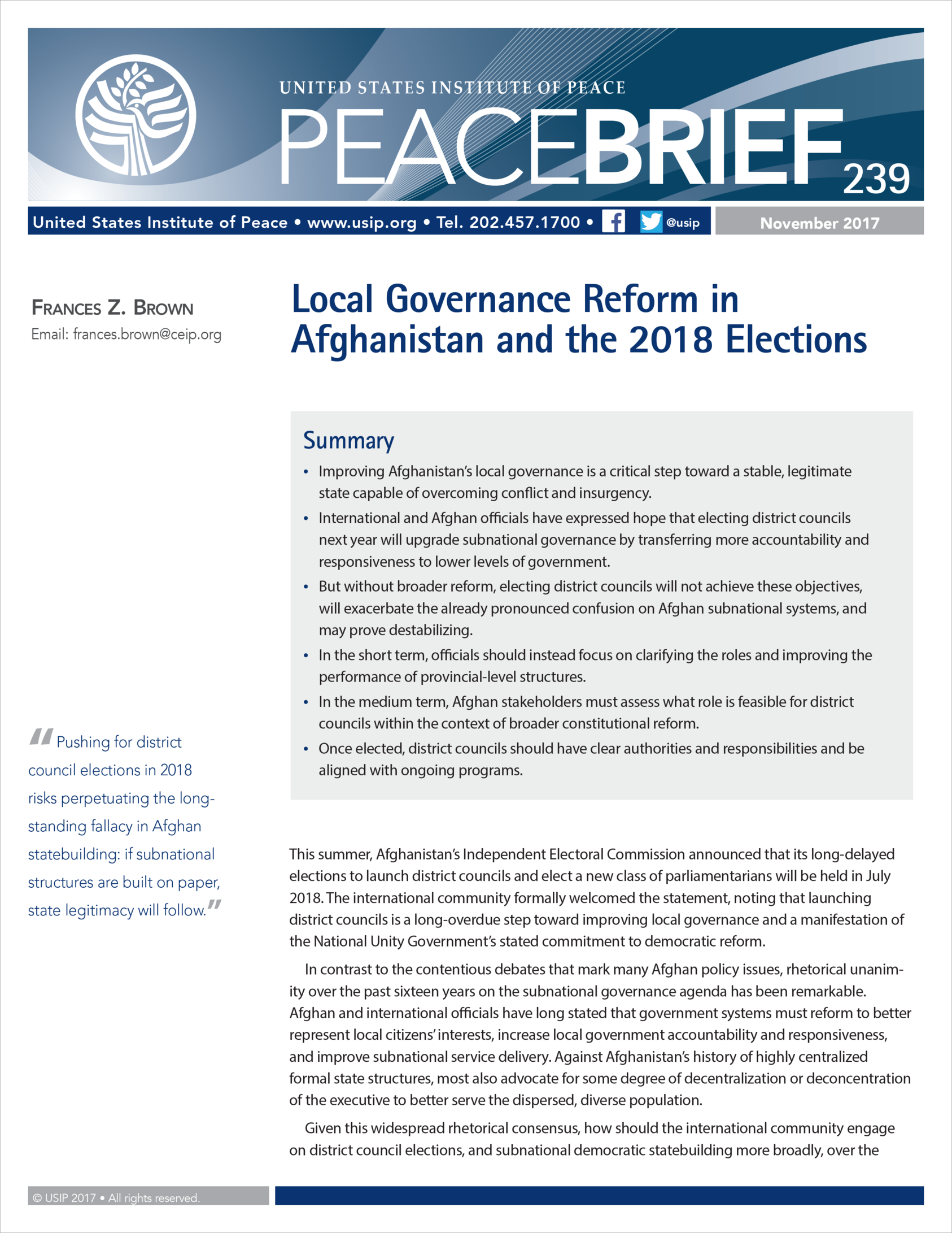Local Governance Reform In Afghanistan And The 2018 Elections Headway 44 Sign Brown United States Institute Of Peace