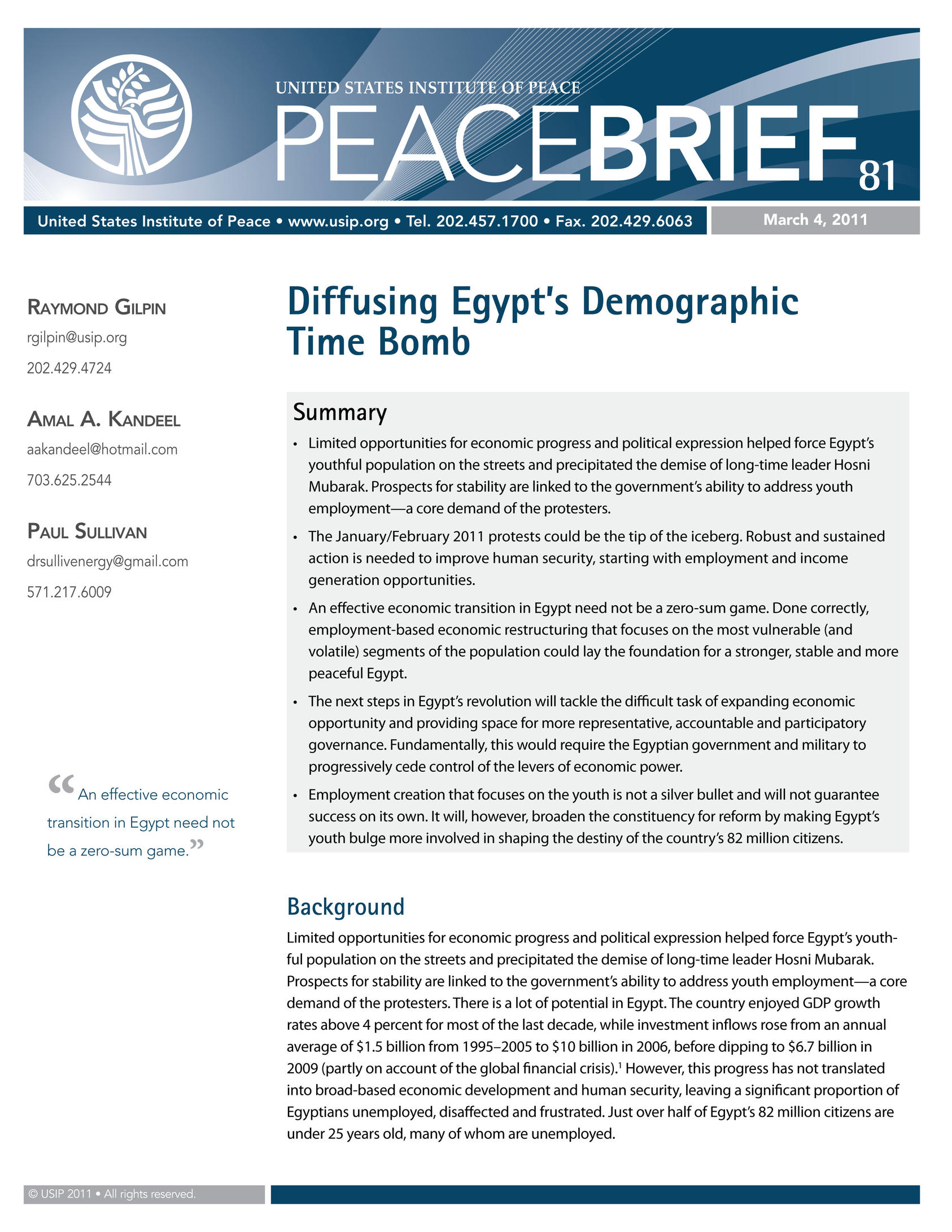 Defusing Egypt S Demographic Time Bomb United States Institute Of Peace