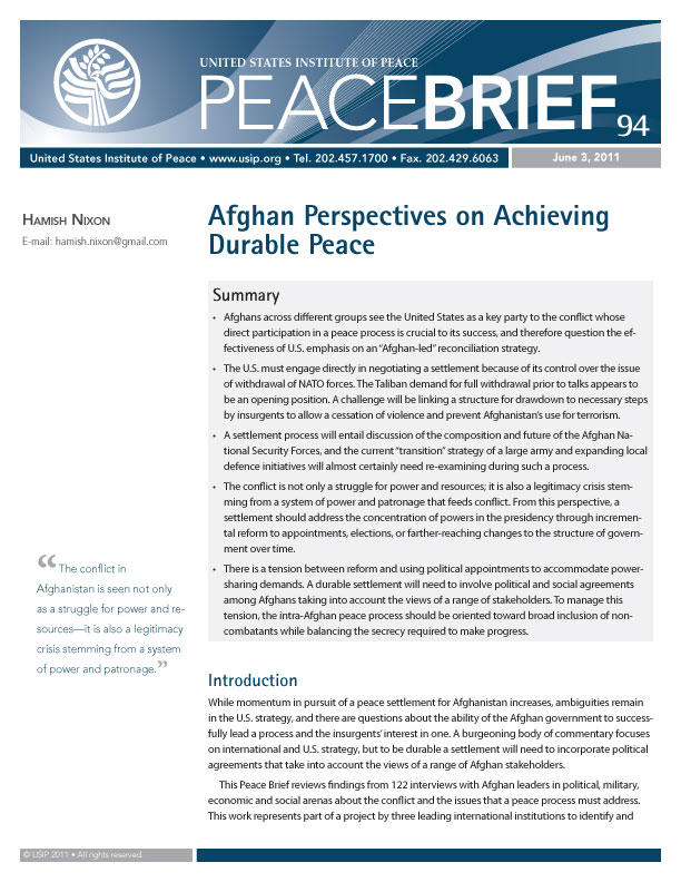 Peace Brief: Afghan Perspectives on Achieving Durable Peace