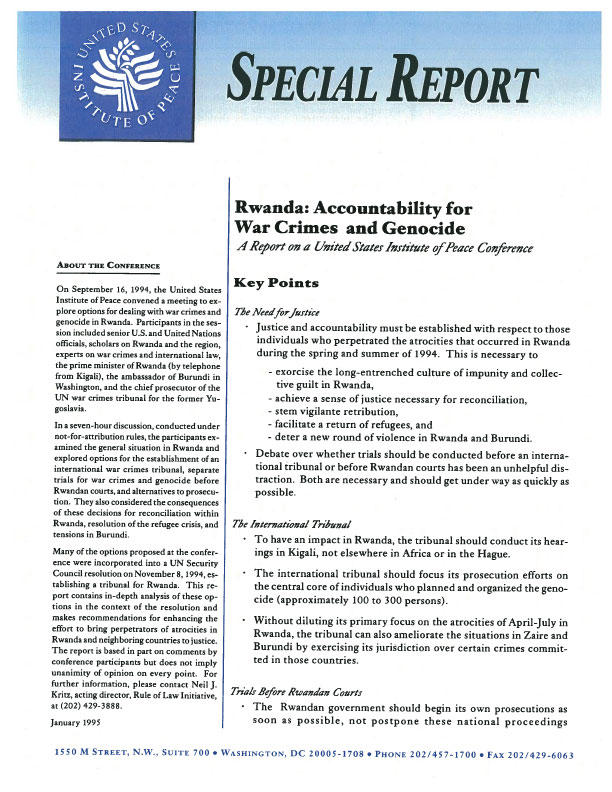 Rwanda: Accountability for War Crimes and Genocide   United