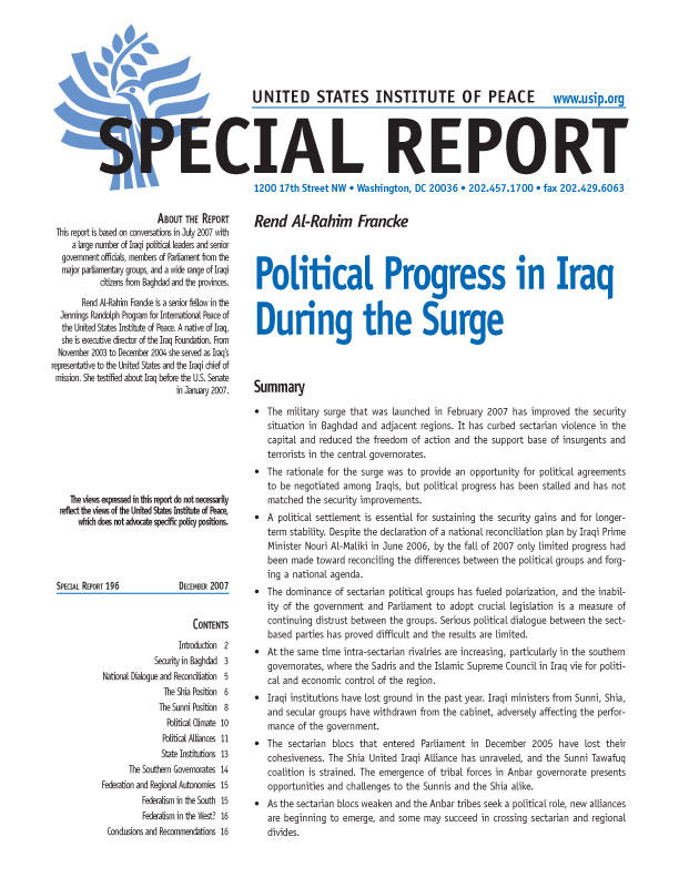 Special Report: Political Progress in Iraq During the Surge